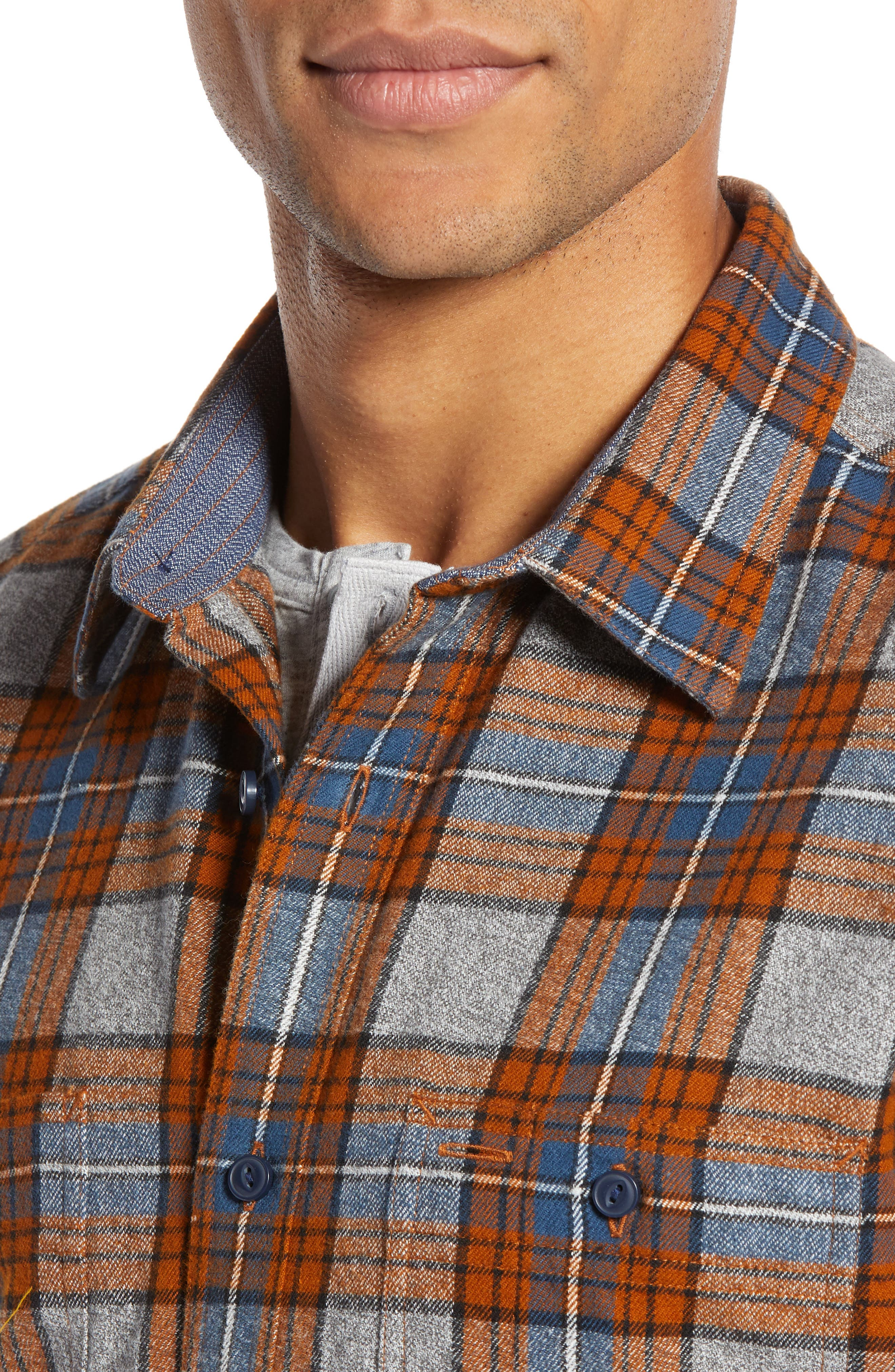 Regular Fit Workwear Plaid Flannel Shirt,                             Alternate thumbnail 4, color,                             RUST AUTUMN BLUE PLAID