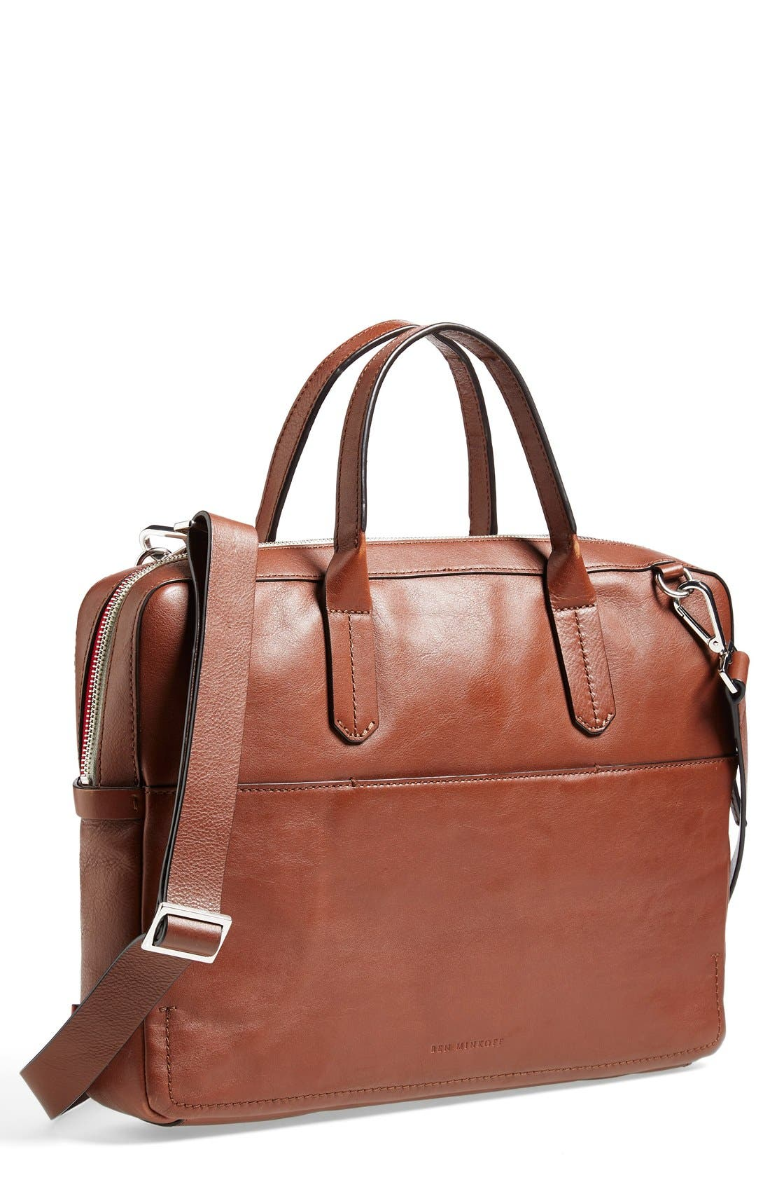 Ben Minkoff 'Fulton' Leather Briefcase,                             Main thumbnail 1, color,                             233