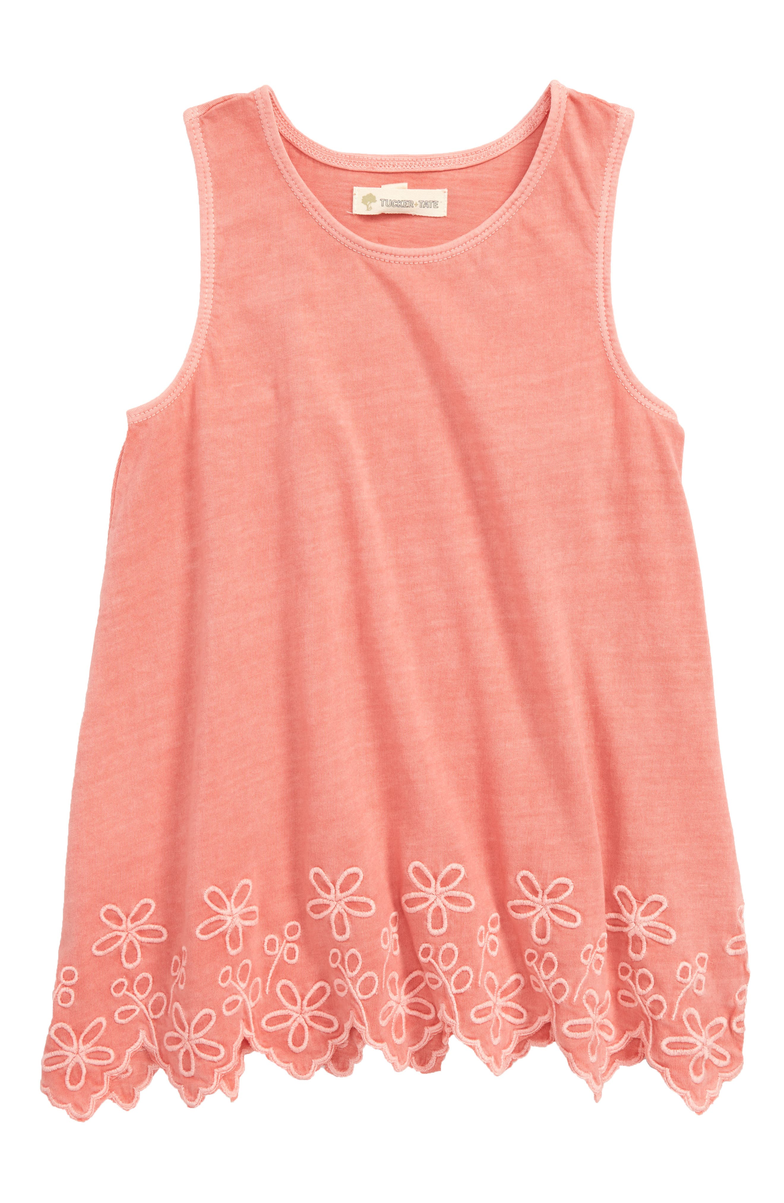 Easy Embroidered Tunic Tank,                             Main thumbnail 1, color,                             CORAL SHELL