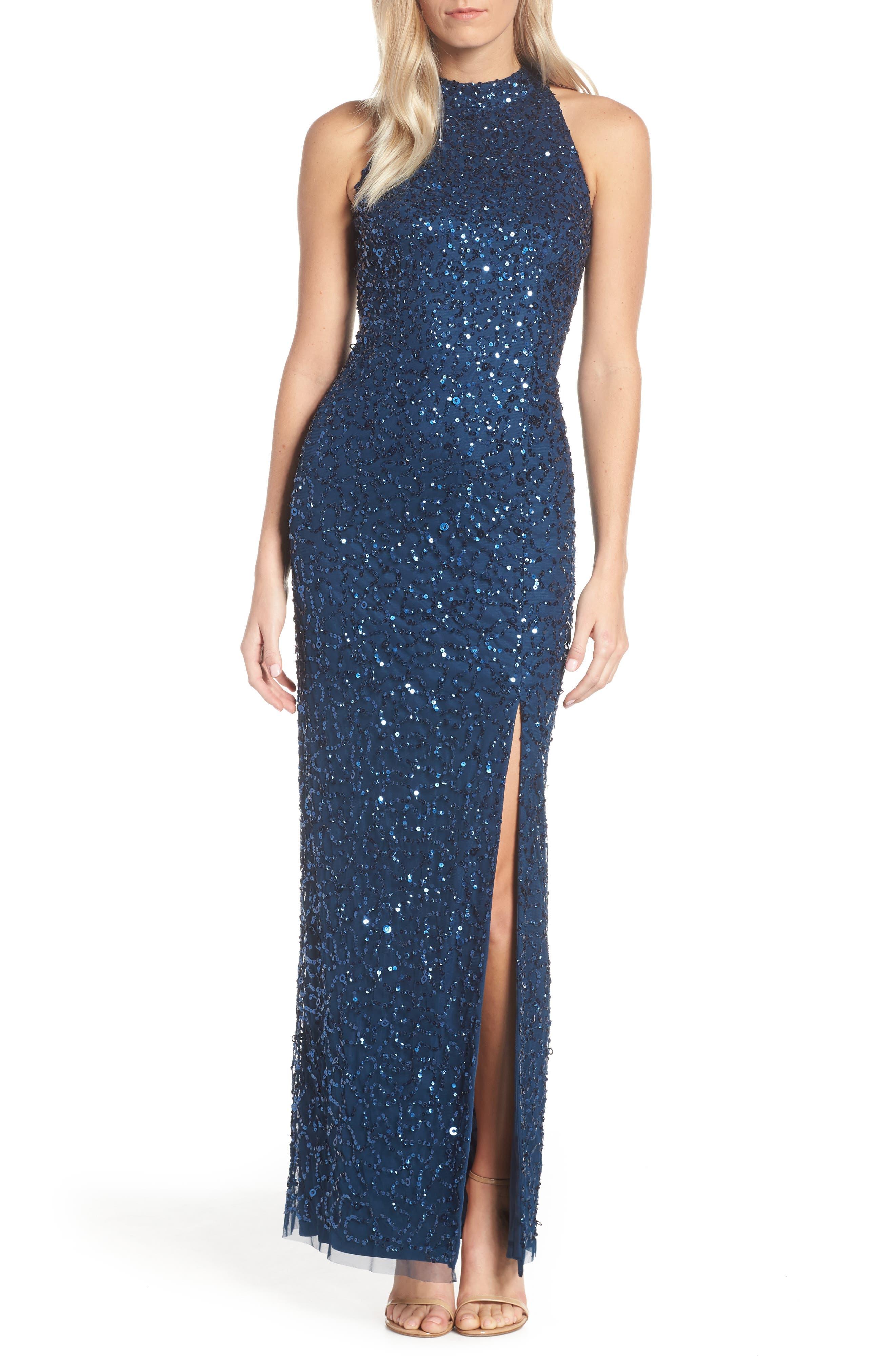 Adrianna Papell Beaded Column Evening Dress, Blue