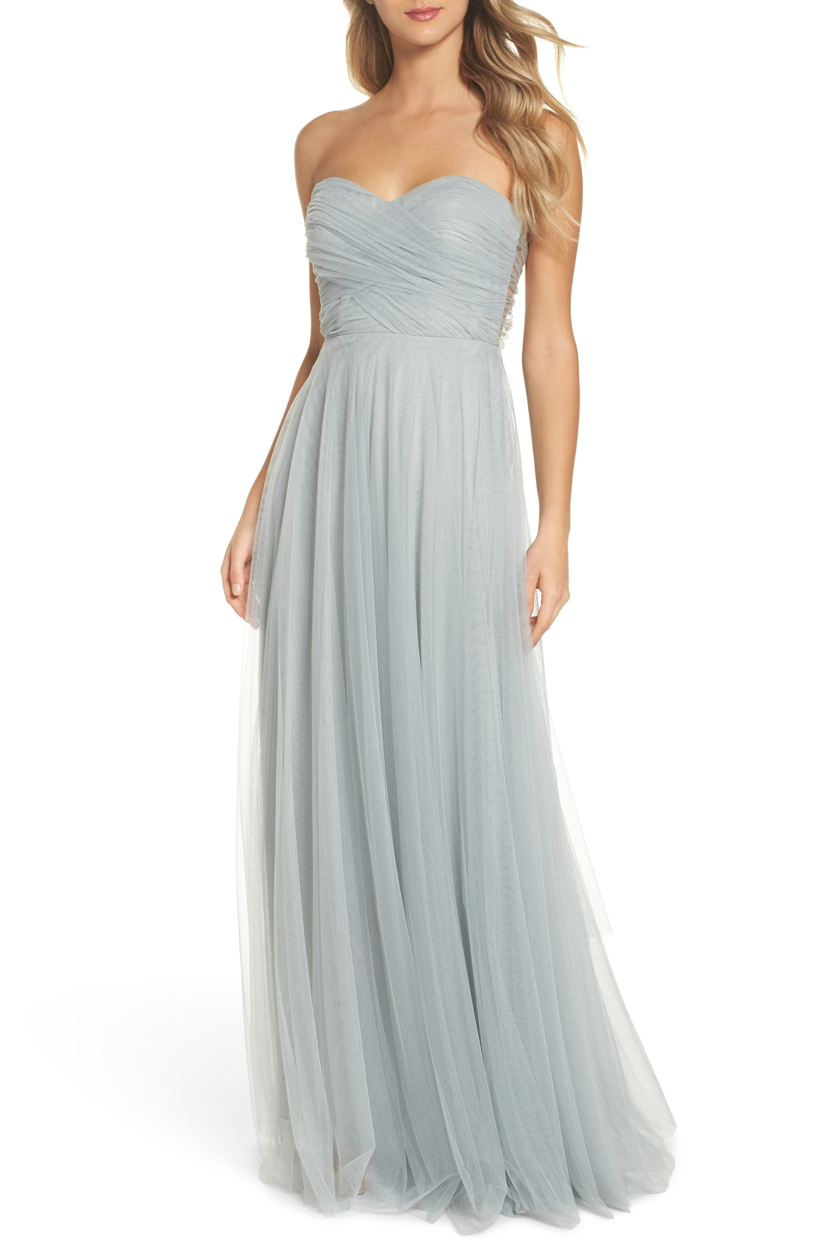 Julia Convertible Soft Tulle Gown,                         Main,                         color, MORNING MIST