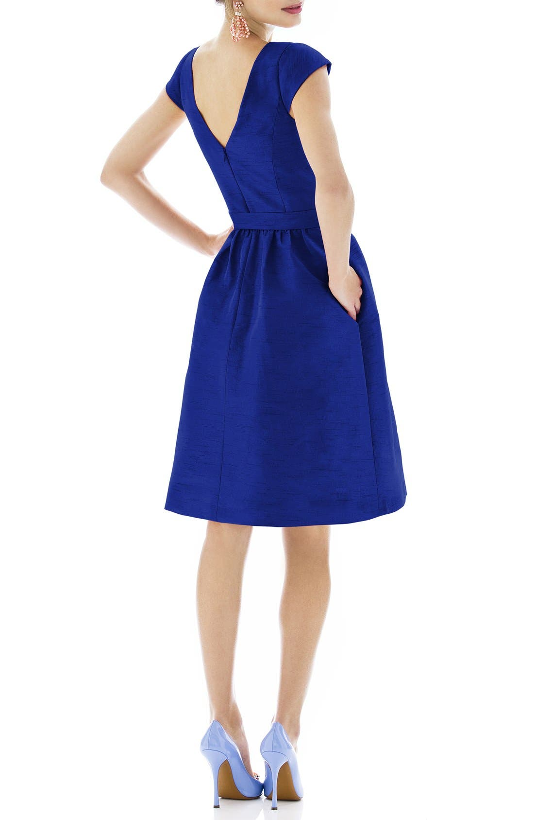 Woven Fit & Flare Dress,                             Alternate thumbnail 14, color,