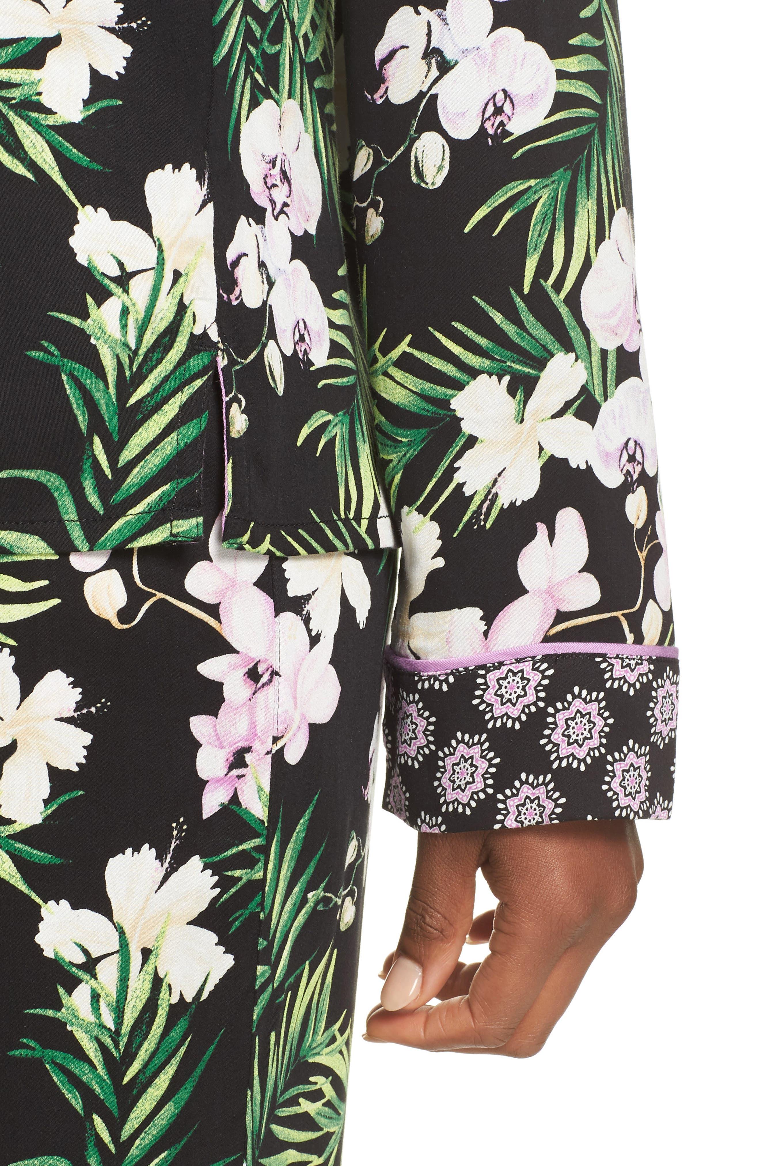 Floral Print Pajamas,                             Alternate thumbnail 4, color,                             001