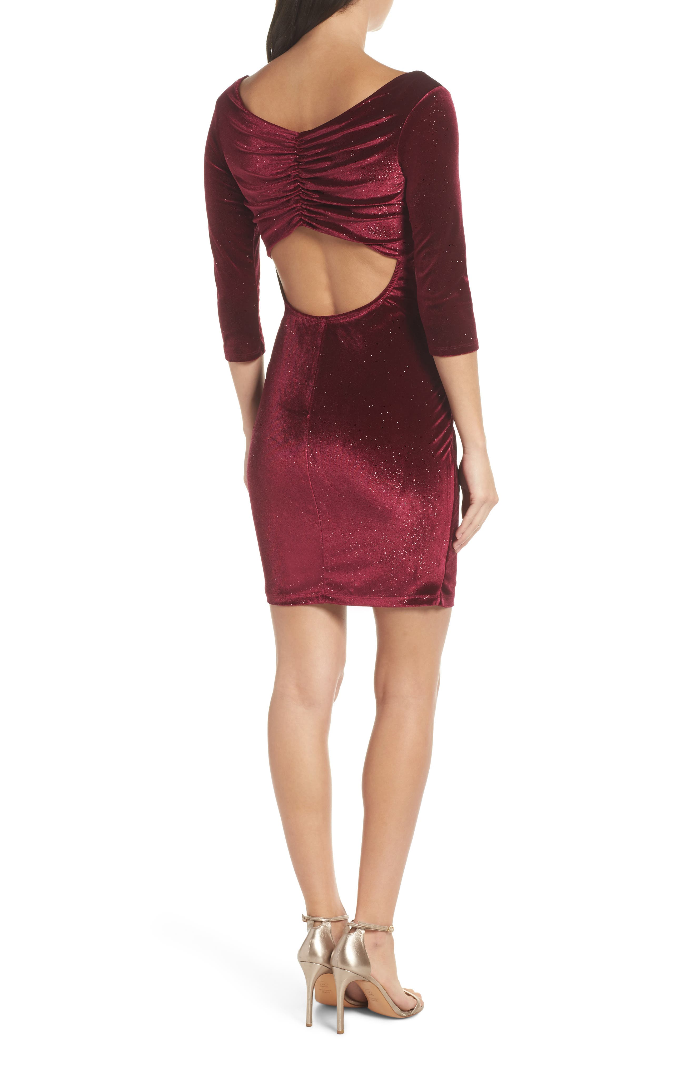 SEQUIN HEARTS,                             Glitter Velvet Body-Con Sheath,                             Alternate thumbnail 2, color,                             WINE