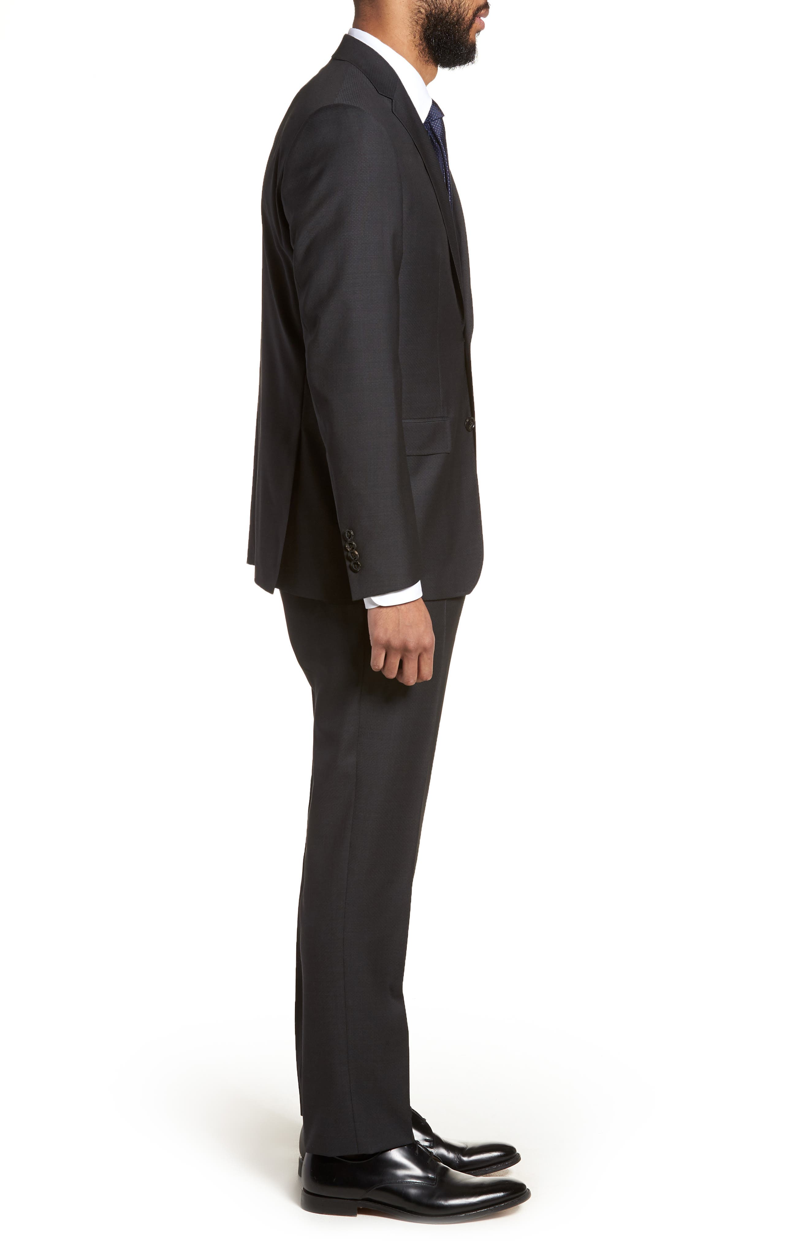Jay Trim Fit Solid Wool Suit,                             Alternate thumbnail 3, color,                             001