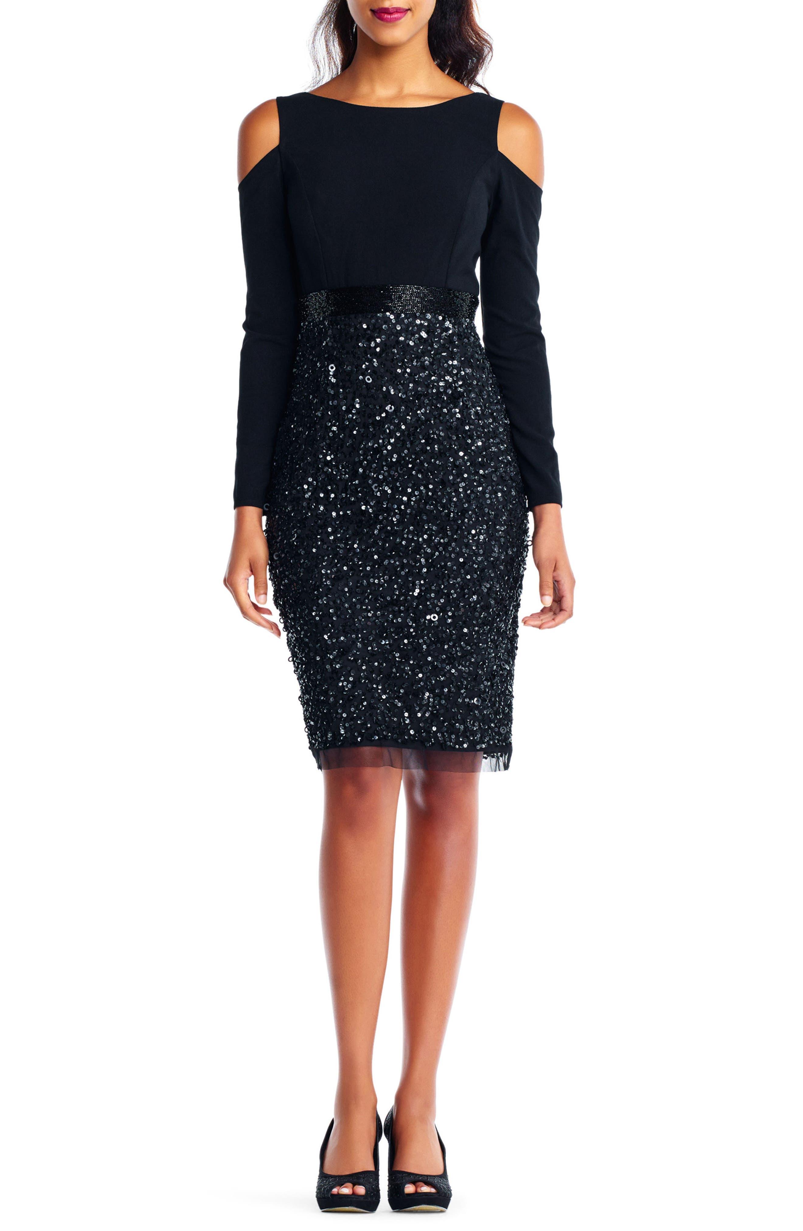 Embellished Cold Shoulder Dress,                             Main thumbnail 1, color,                             002