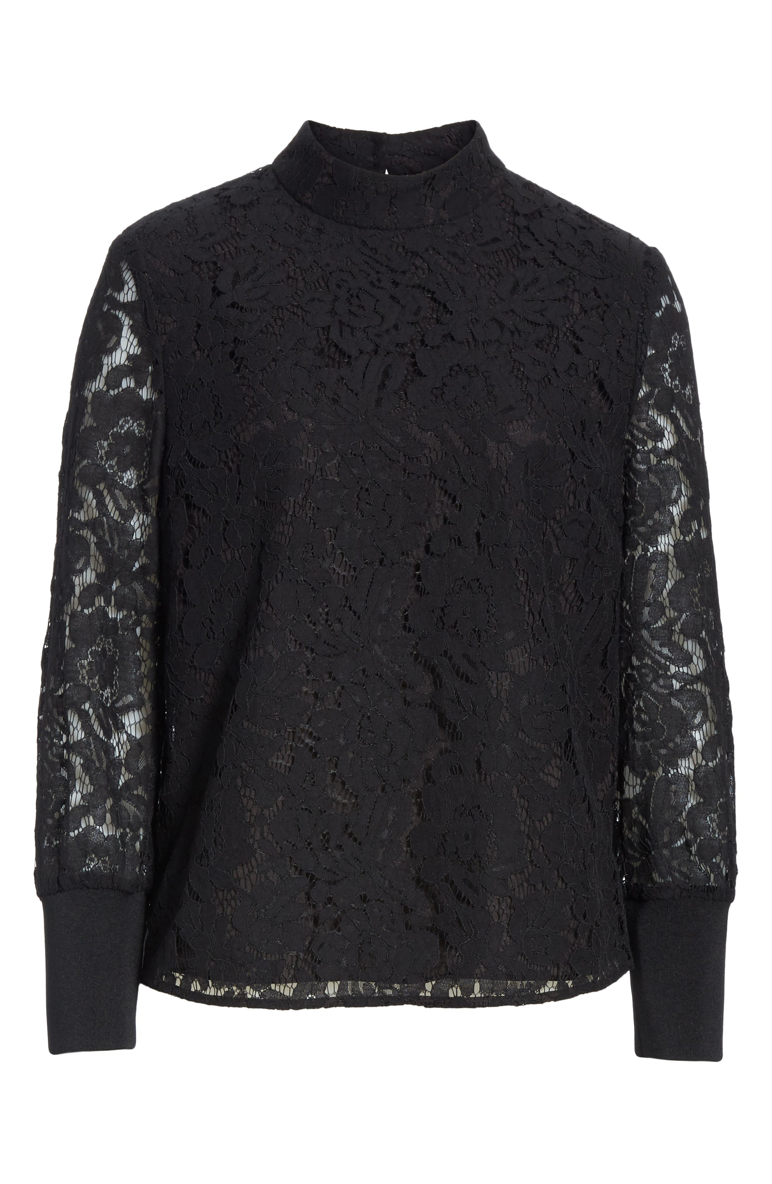 Dilly Lace High Neck Blouse,                             Alternate thumbnail 6, color,                             BLACK