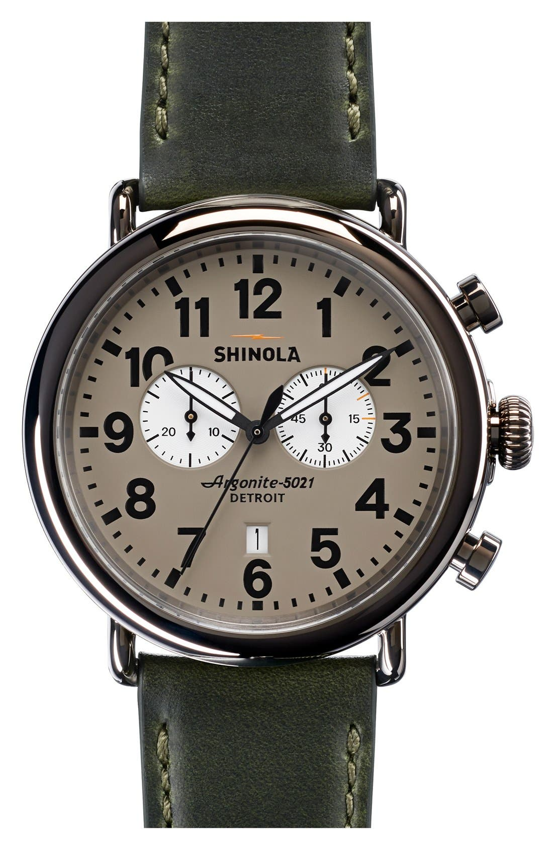 The Runwell Chrono Leather Strap Watch, 47mm,                             Main thumbnail 14, color,