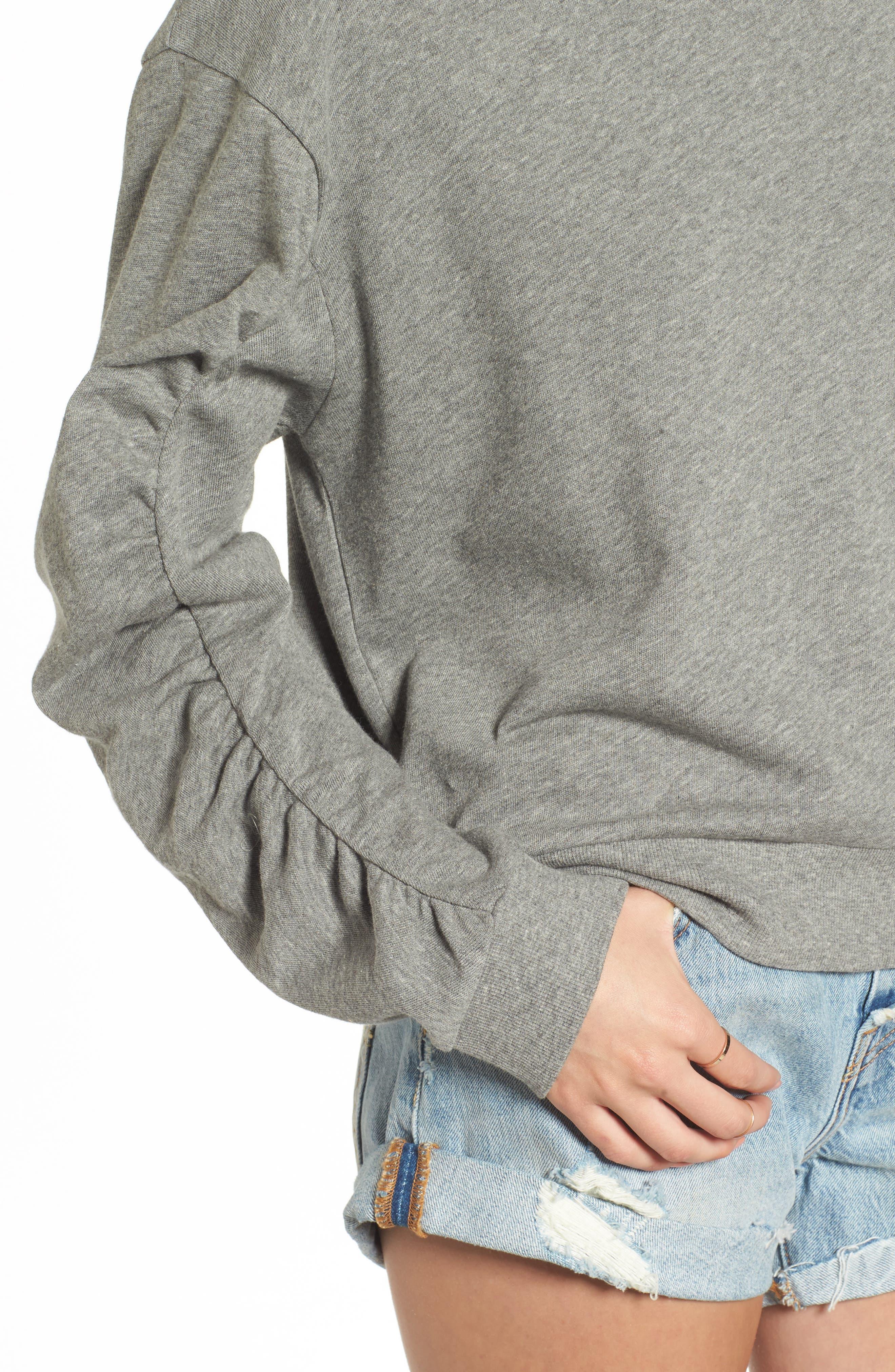 Ruched Sleeve Sweatshirt,                             Alternate thumbnail 4, color,                             030