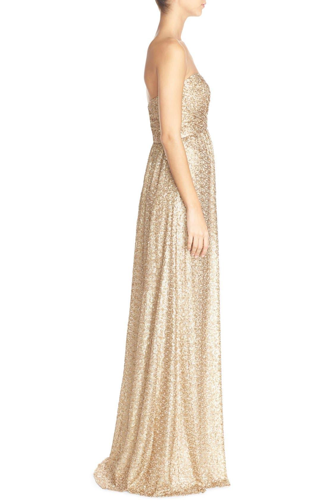 'London' Sequin Tulle Strapless Column Gown,                             Alternate thumbnail 3, color,                             710