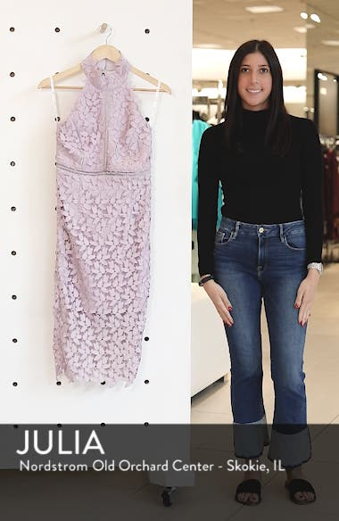 Gemma Halter Lace Sheath Dress, sales video thumbnail