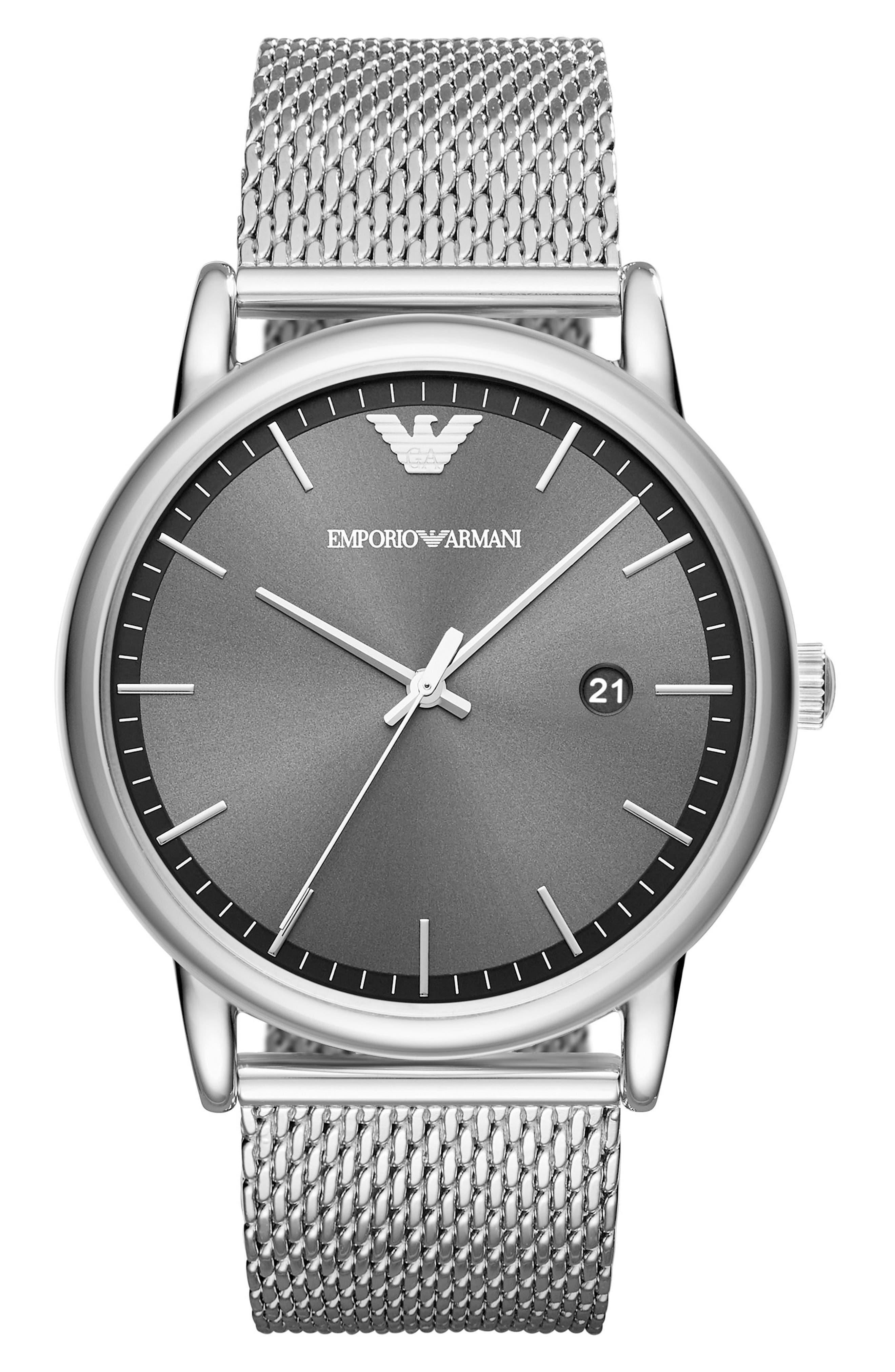 Slim Mesh Bracelet Watch,                             Main thumbnail 1, color,                             040