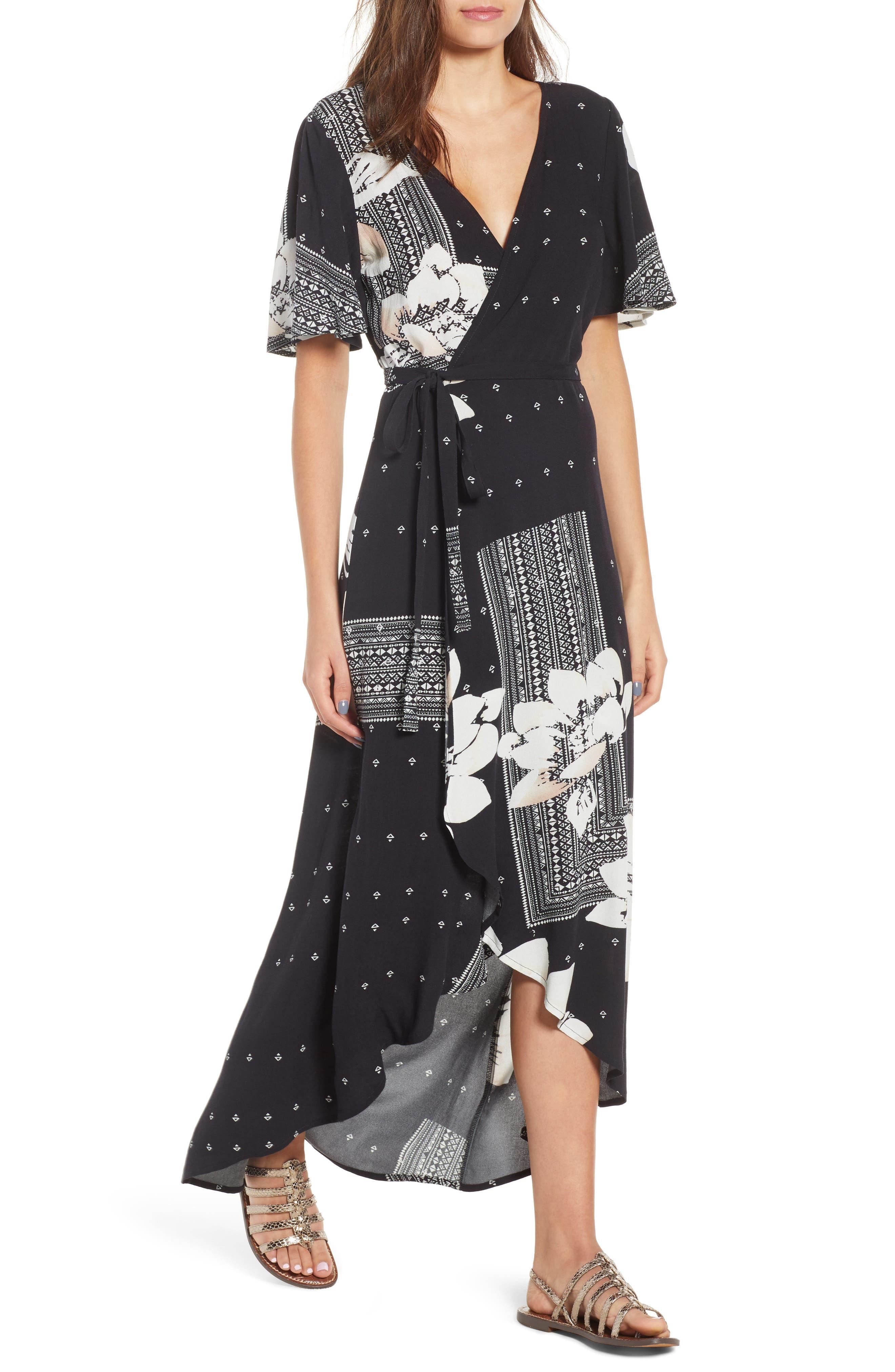 Alamante Print Wrap Dress,                         Main,                         color, 001