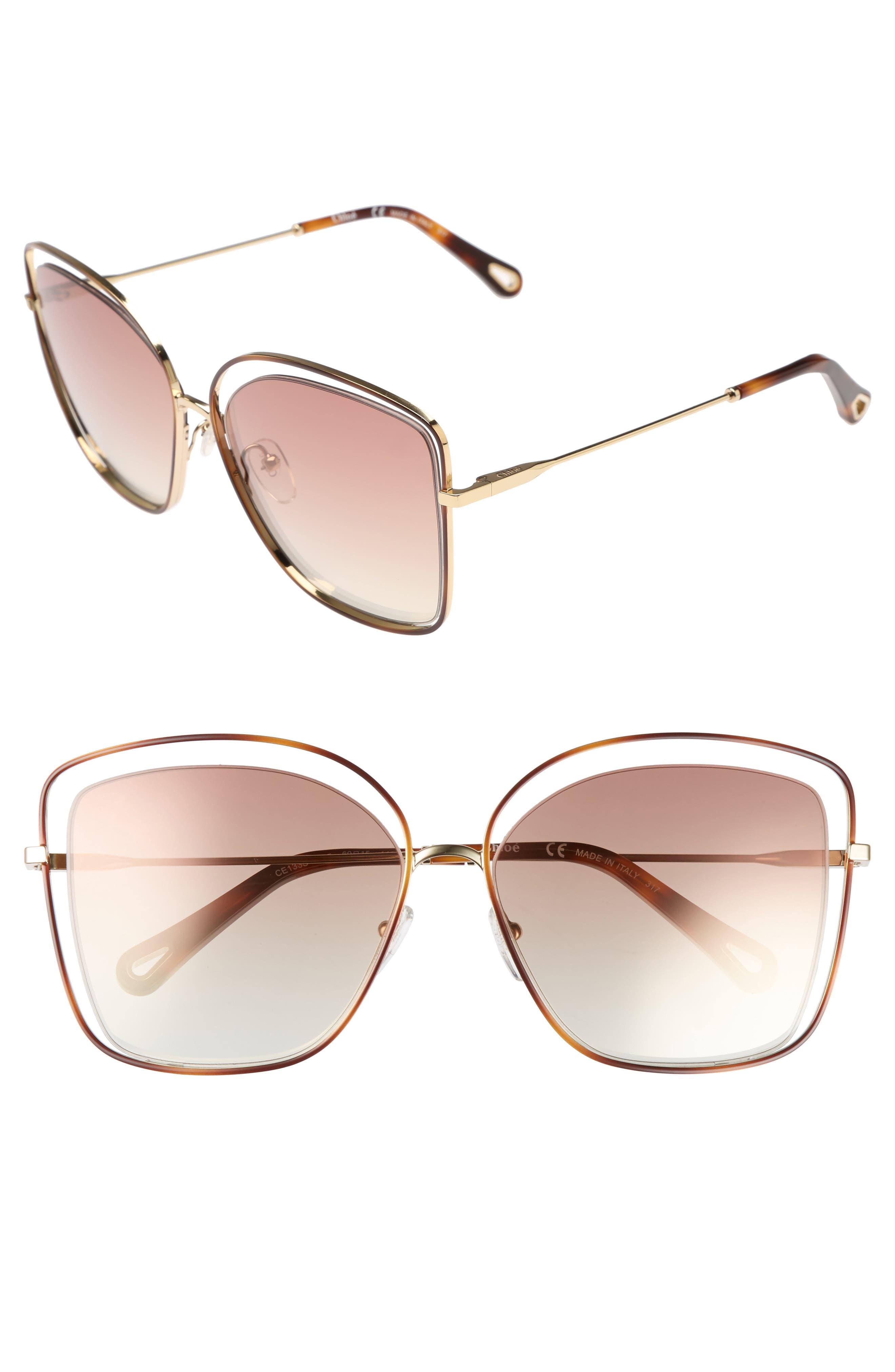 60mm Halo Frame Sunglasses,                             Main thumbnail 1, color,                             HAVANA/ BRONZE