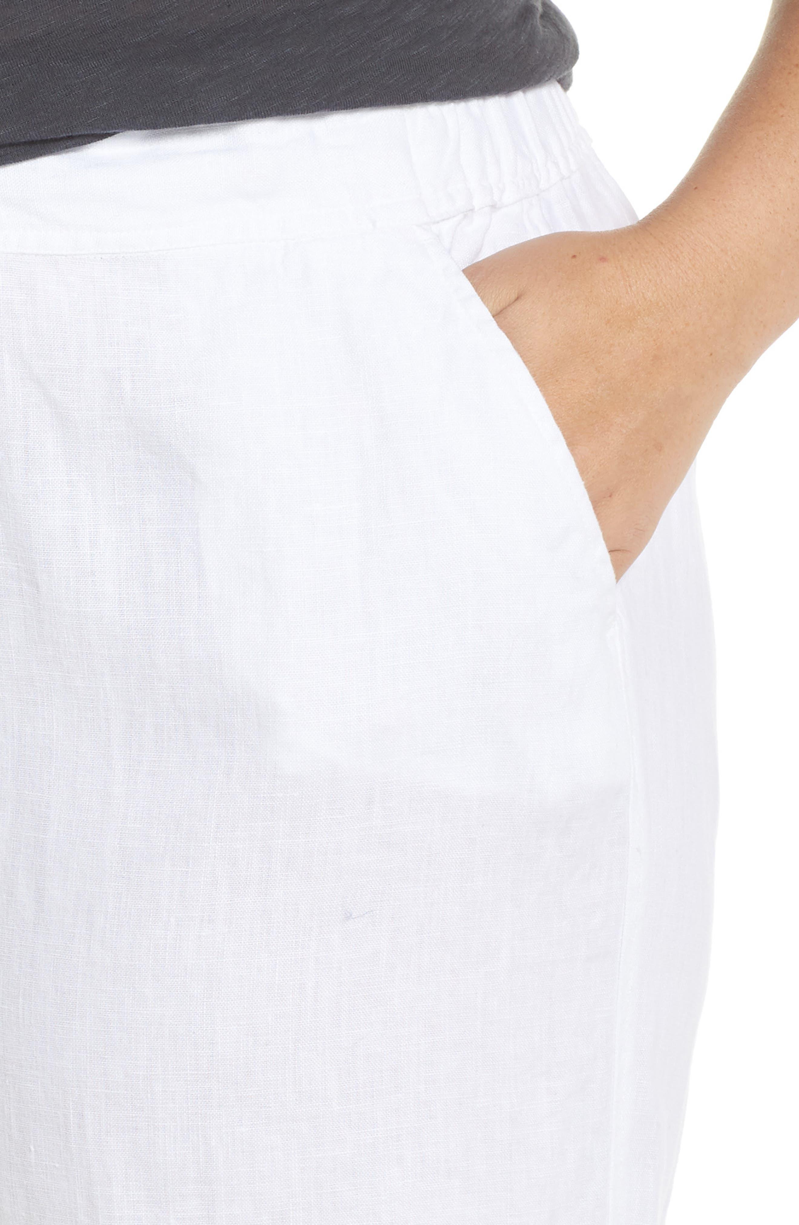 Wide Leg Linen Pants,                             Alternate thumbnail 4, color,                             ULTRA WHITE