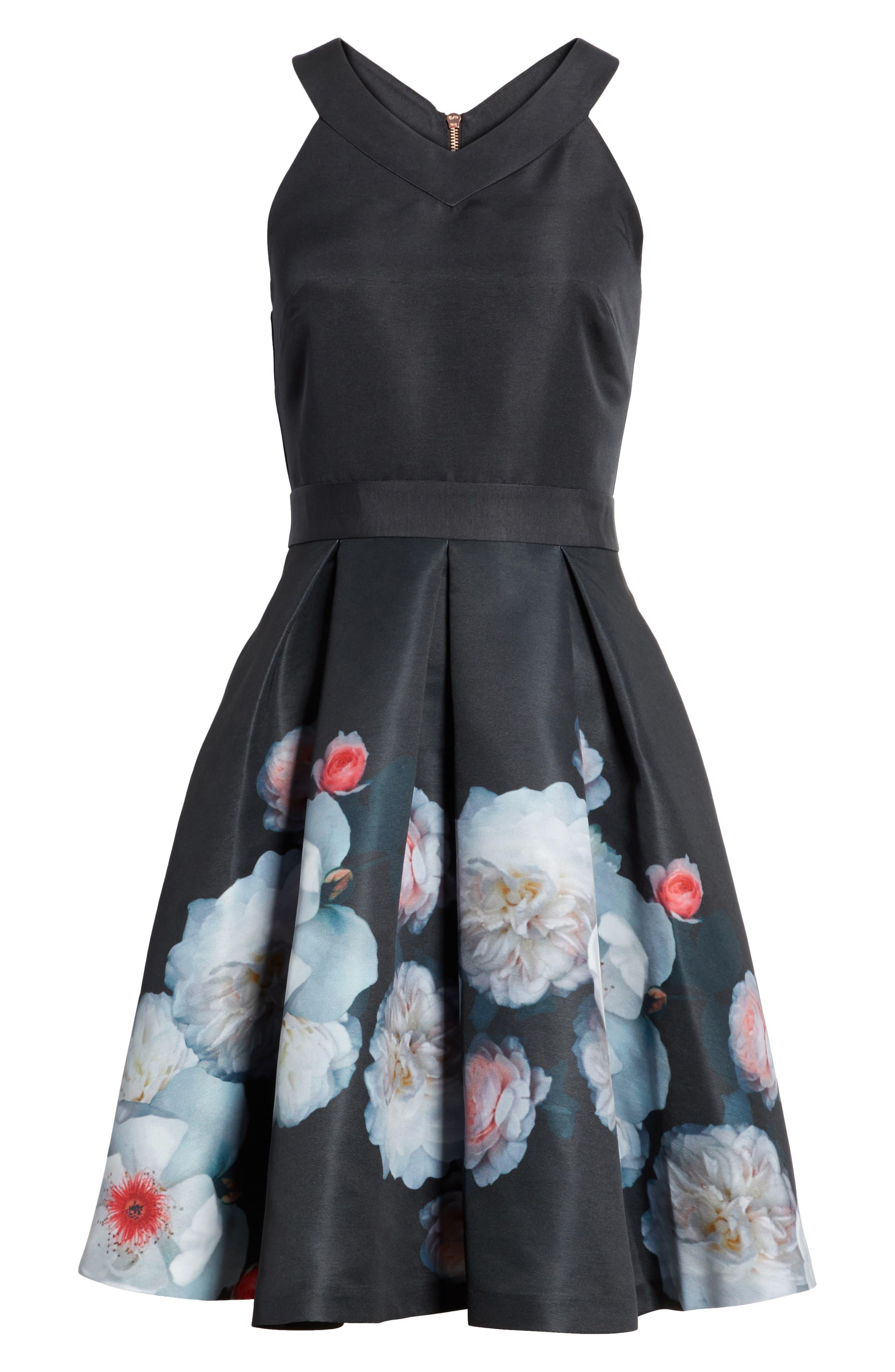 Jelina Chelsea Floral Fit & Flare Dress,                             Alternate thumbnail 6, color,                             001