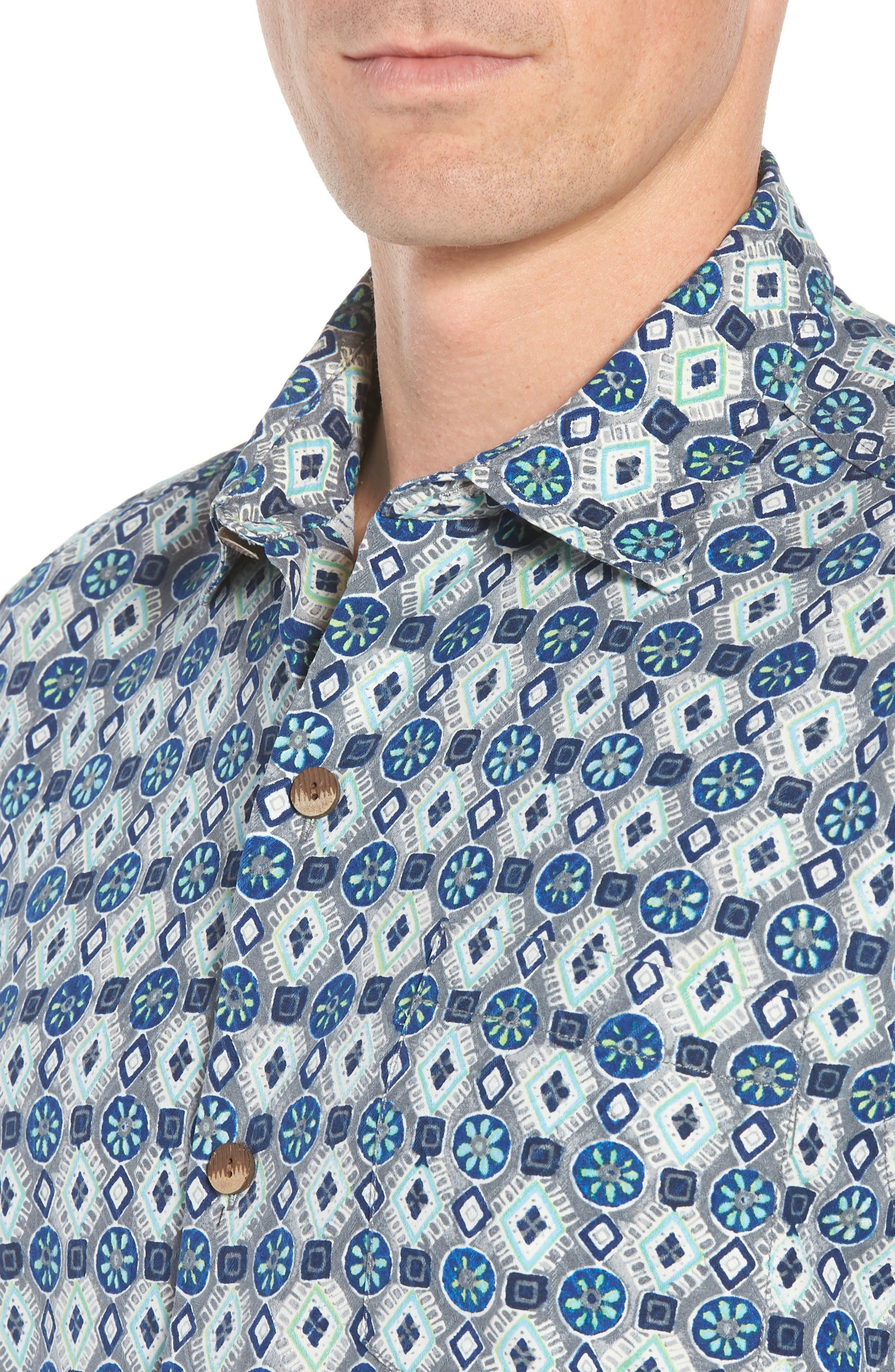 Tulum Tiles Silk Camp Shirt,                             Alternate thumbnail 4, color,                             BLACK