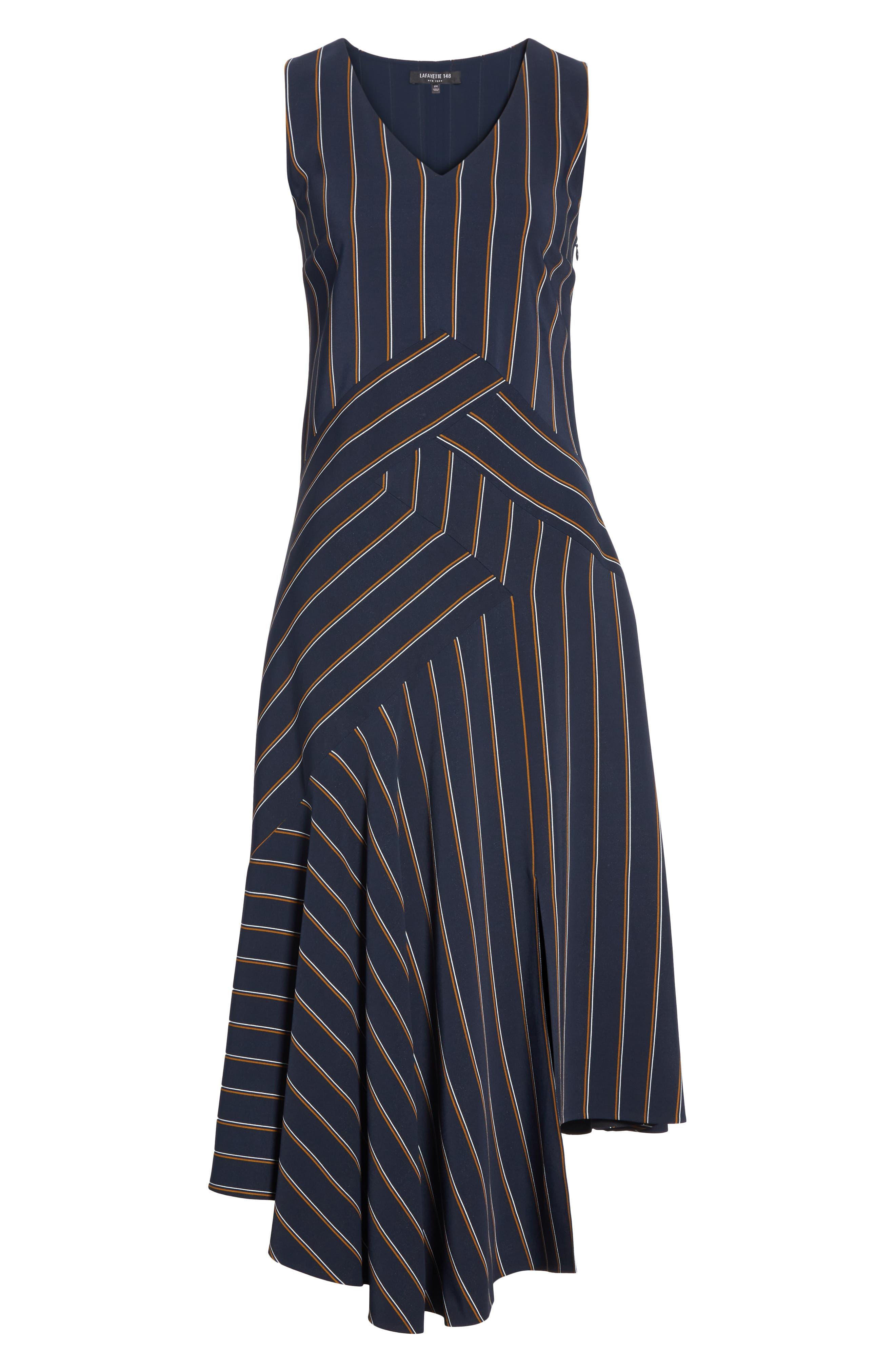 Ashlena Asymmetrical Stripe Dress,                             Alternate thumbnail 5, color,                             INK MULTI