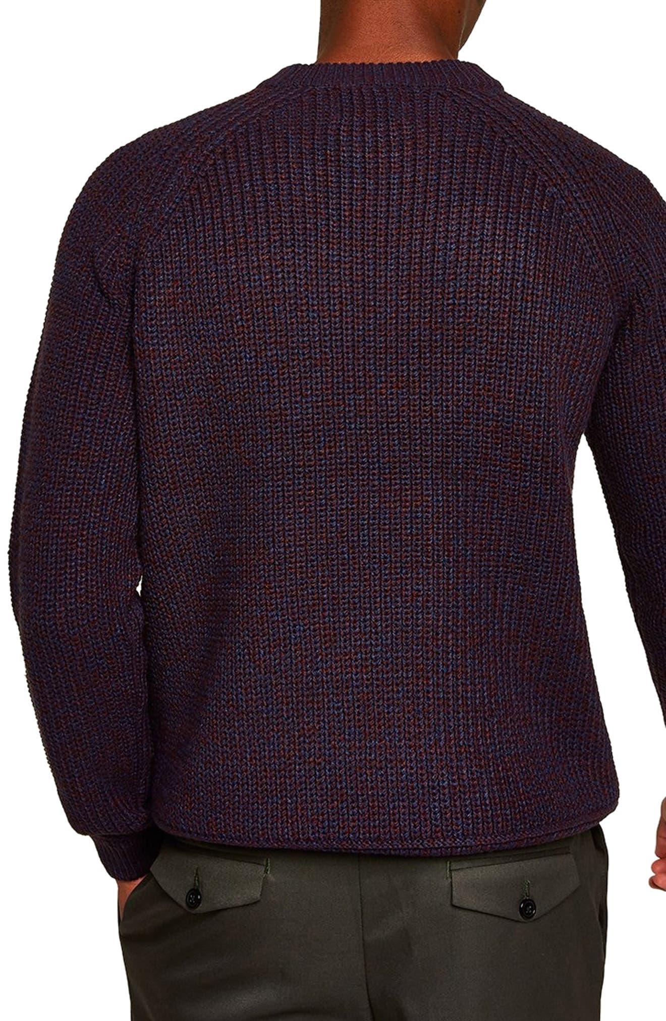 Crewneck Sweater,                             Alternate thumbnail 2, color,                             BURGUNDY MULTI