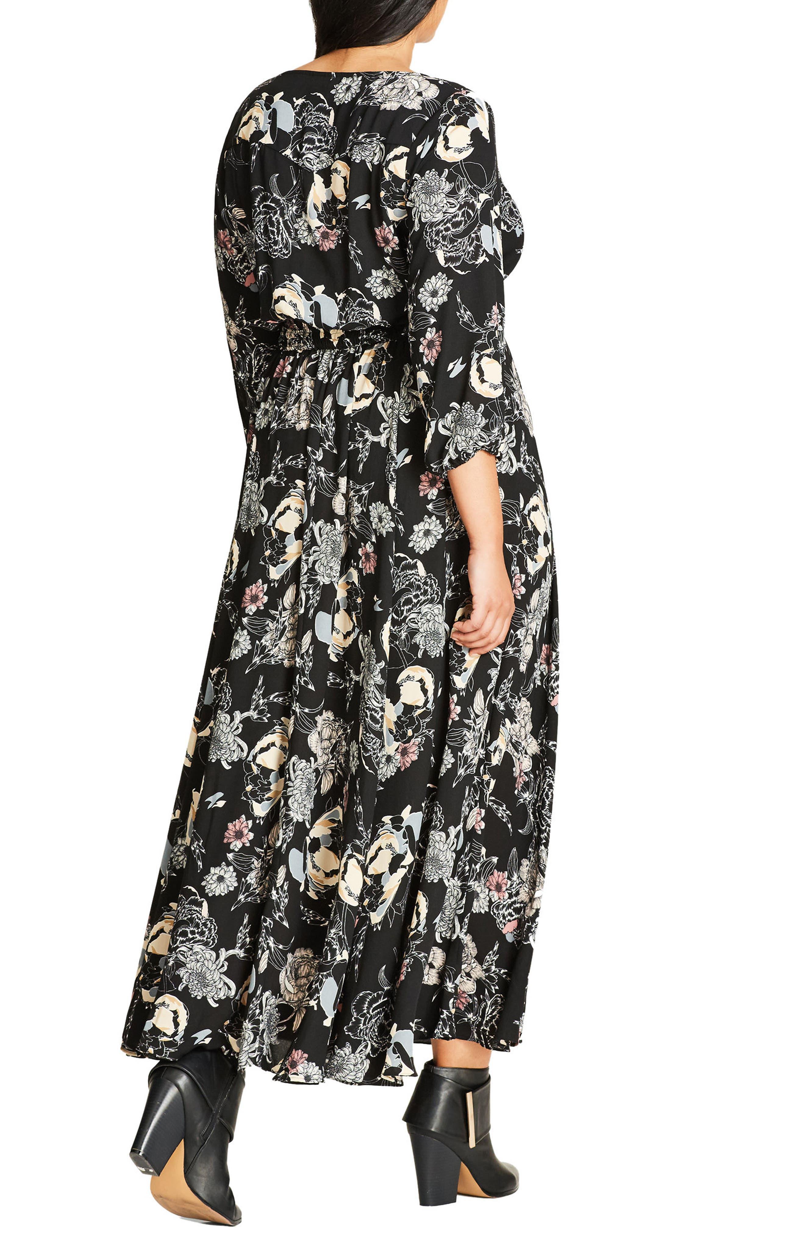 CITY CHIC,                             Floral Maxi Dress,                             Alternate thumbnail 2, color,                             001