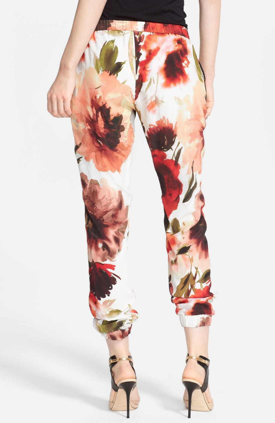 Print Silk Pants,                             Alternate thumbnail 3, color,                             650