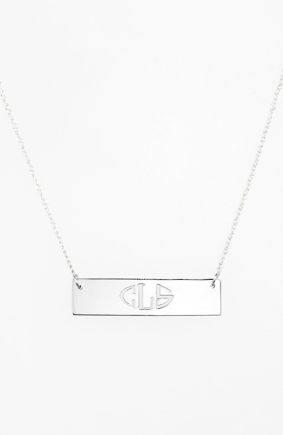 Personalized Cutout Bar Pendant Necklace,                             Main thumbnail 1, color,                             SILVER