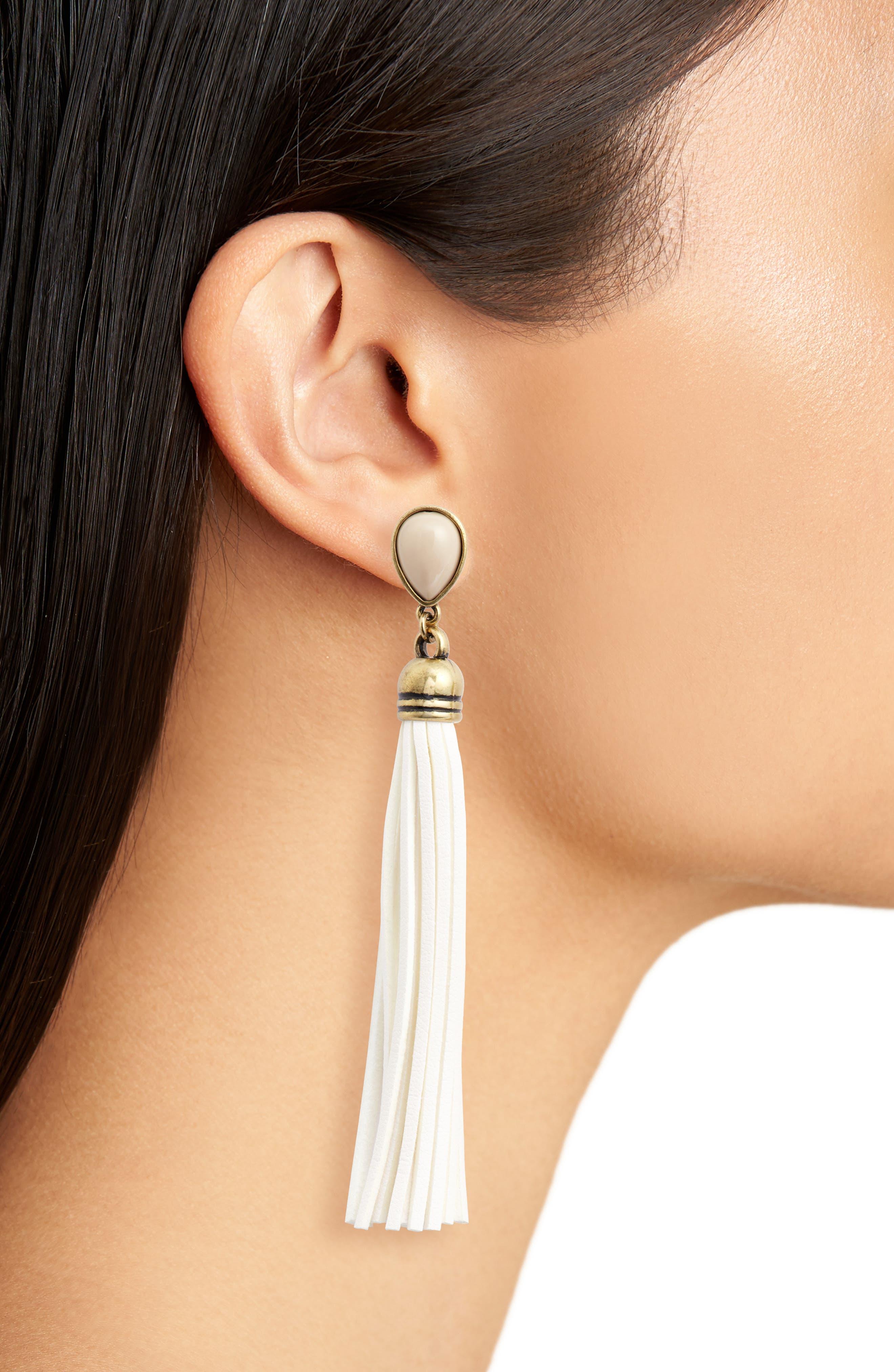 Faux Suede Tassel Earrings,                             Alternate thumbnail 2, color,                             WHITE