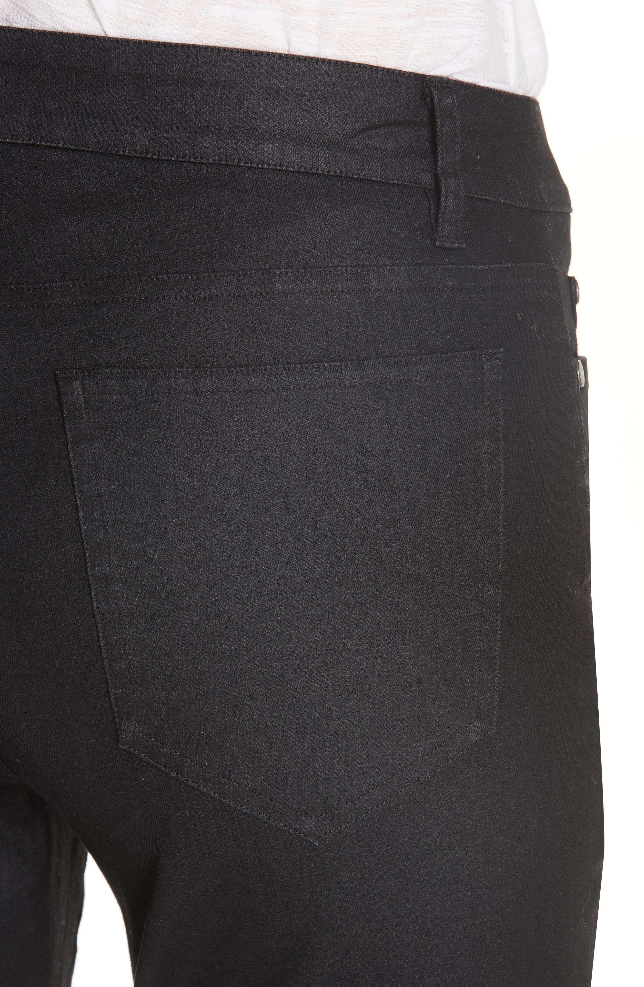 Slim Ankle Jeans,                             Alternate thumbnail 4, color,                             BLACK
