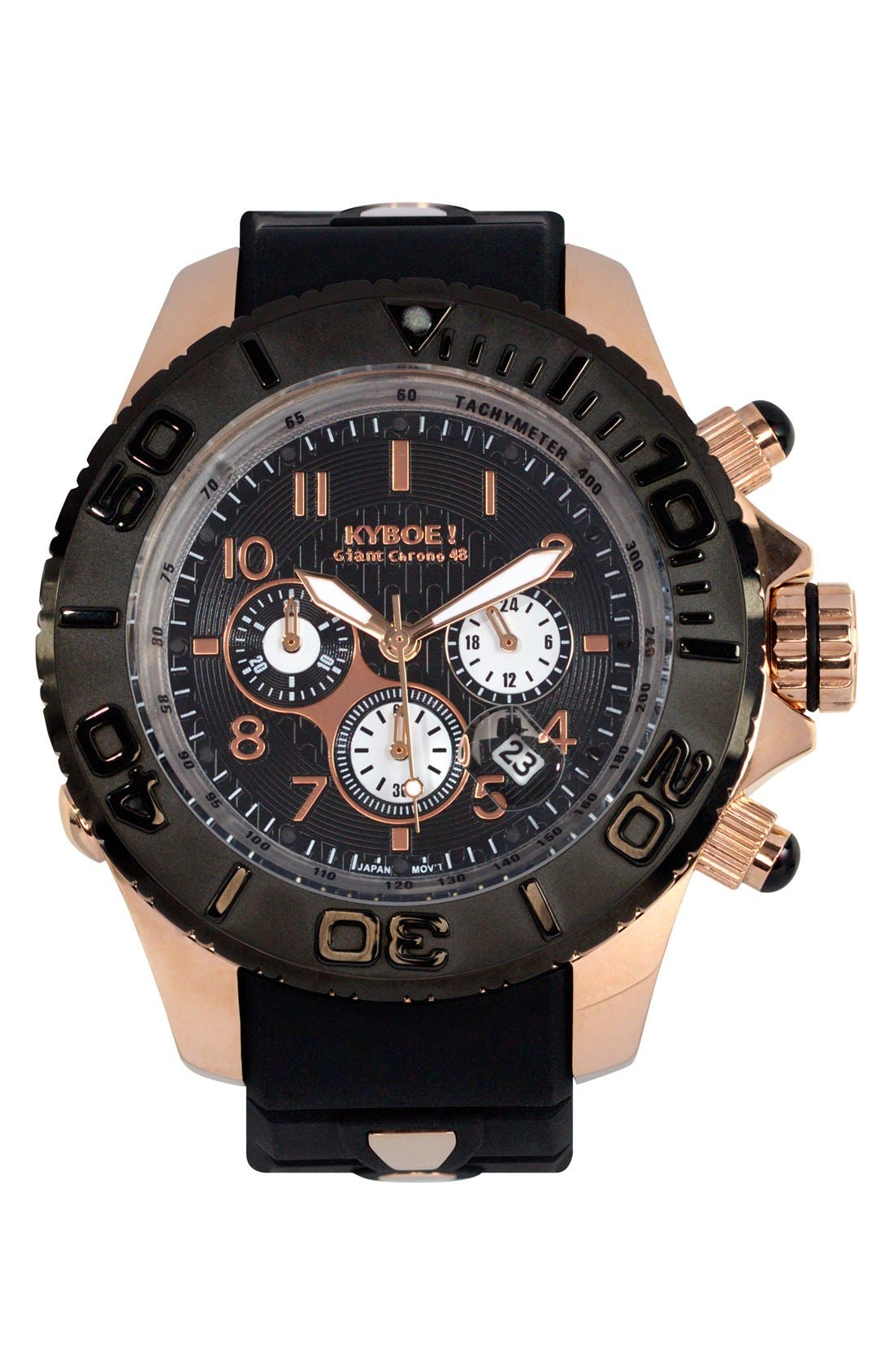 'Empire' Chronograph Silicone Strap Watch, 48mm,                             Main thumbnail 1, color,                             BLACK/ BLACK