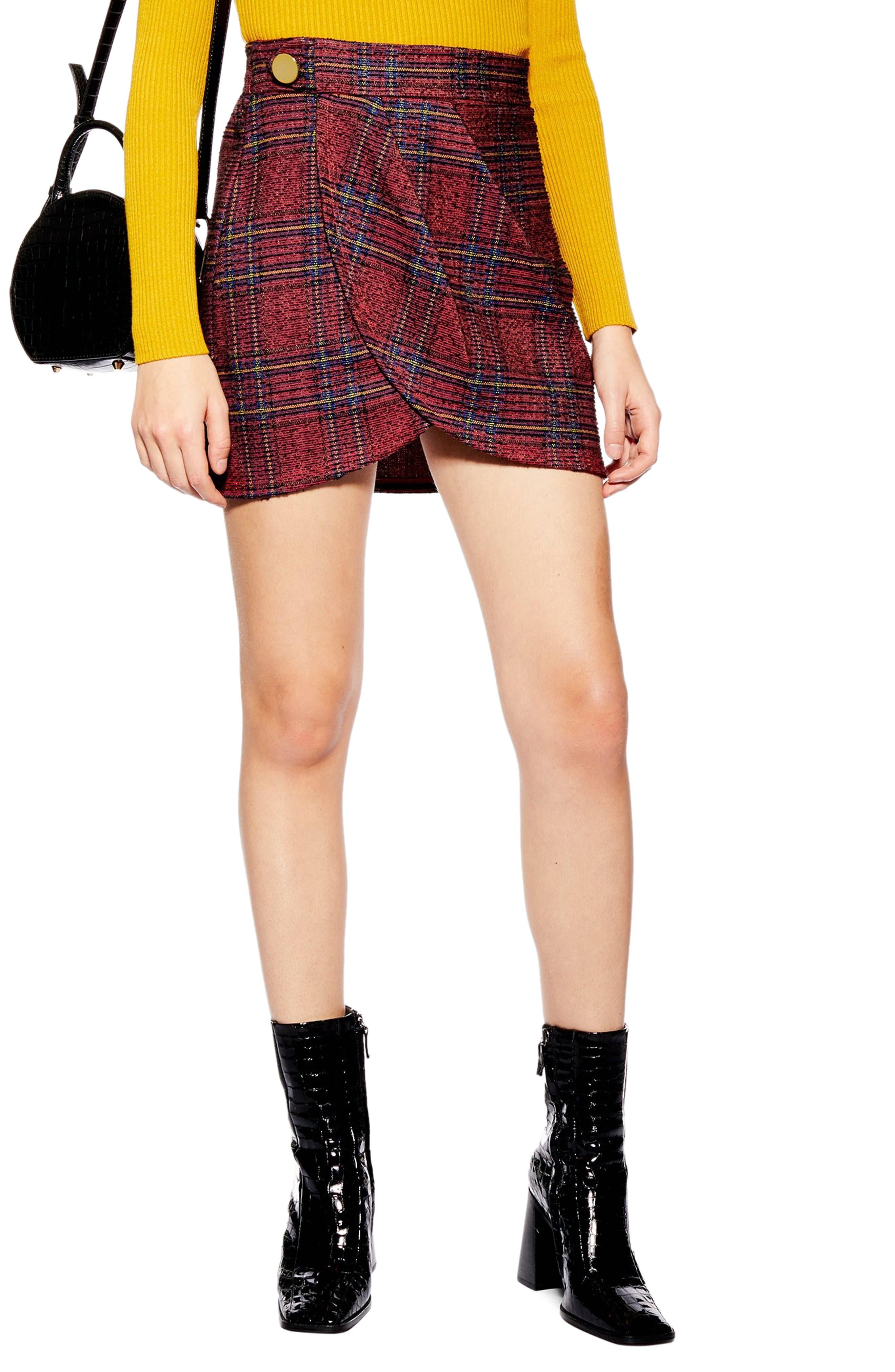TOPSHOP,                             Tartan Bouclé Miniskirt,                             Main thumbnail 1, color,                             RED MULTI