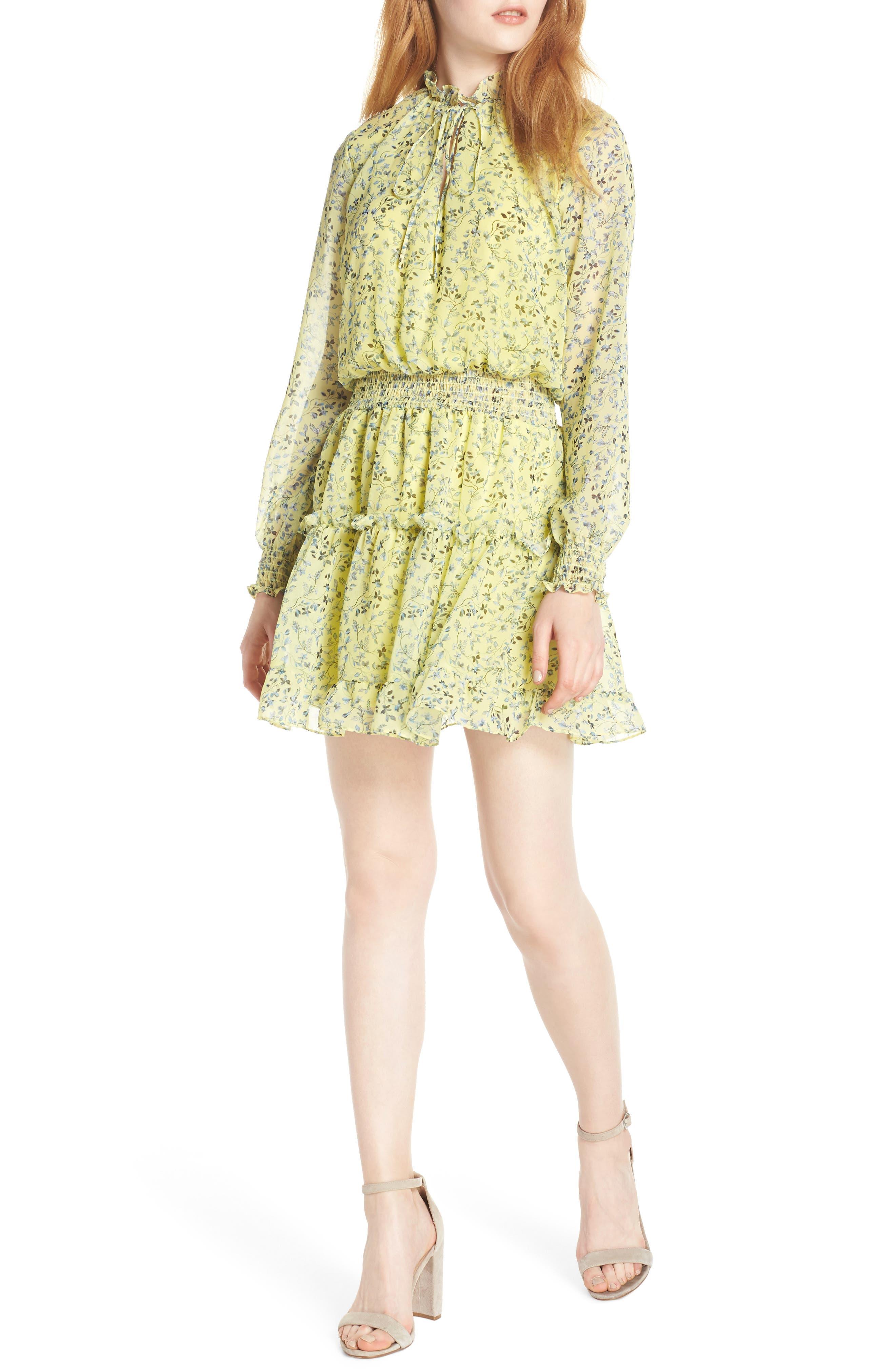 Nsr Emma Floral Print Ruffle Dress, Yellow