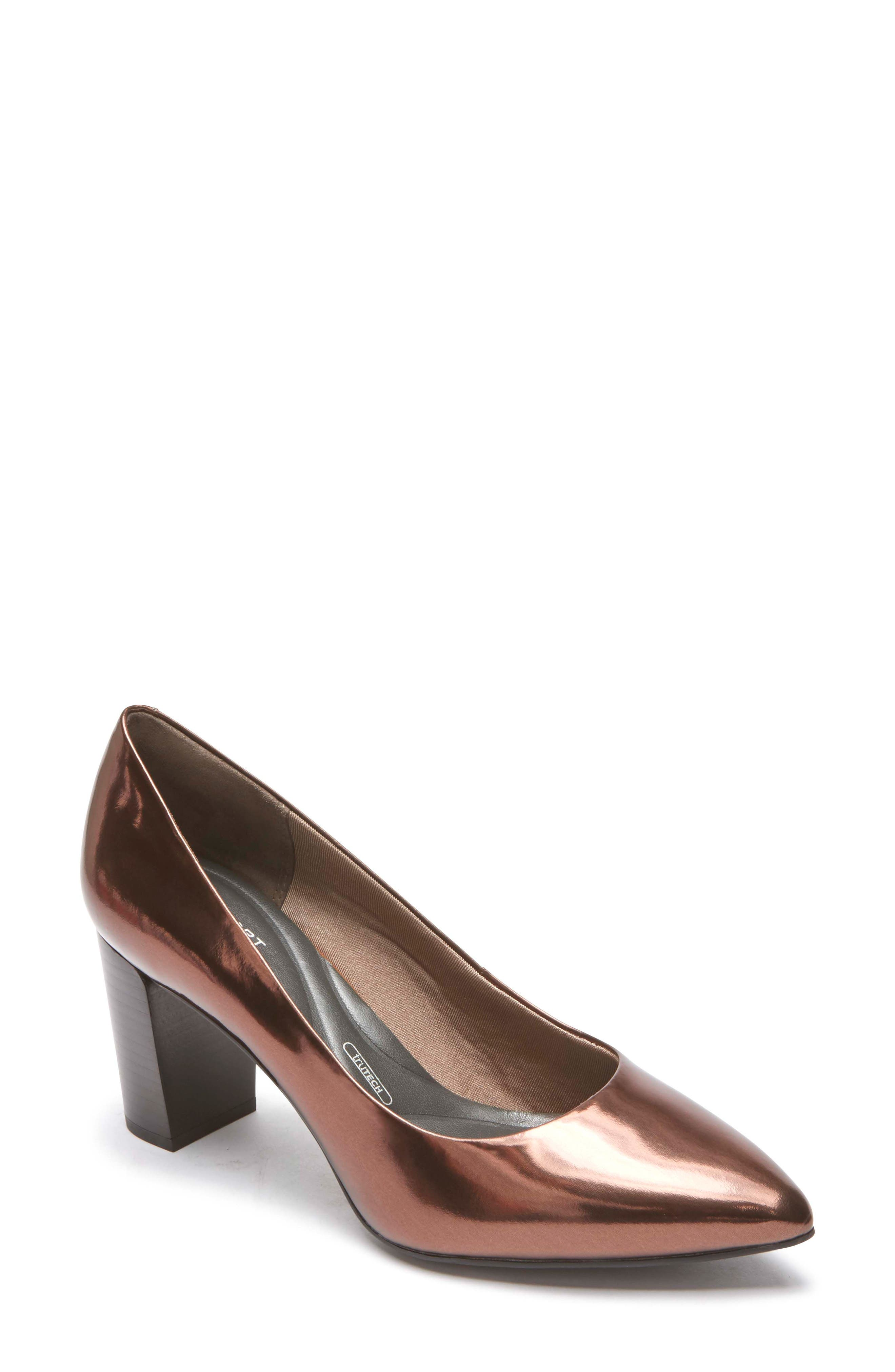 Total Motion Violina Luxe Pointy Toe Pump,                         Main,                         color, BRONZE PATENT LEATHER