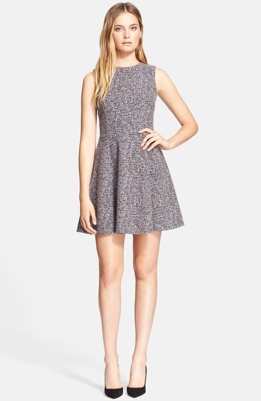 'Tillora' Tweed Fit & Flare Dress,                             Main thumbnail 1, color,                             001
