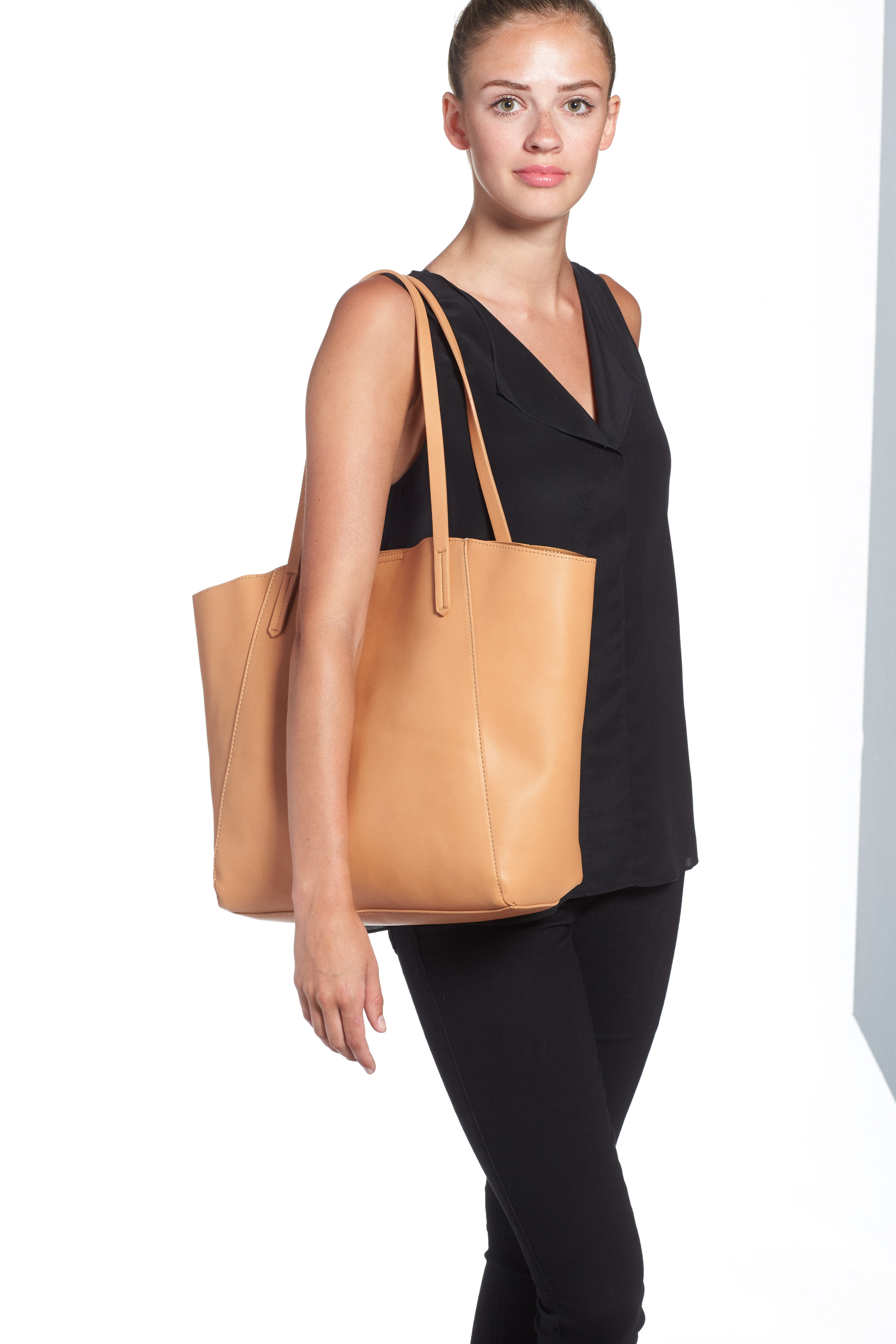 Colorblock Faux Leather Tote,                             Alternate thumbnail 17, color,