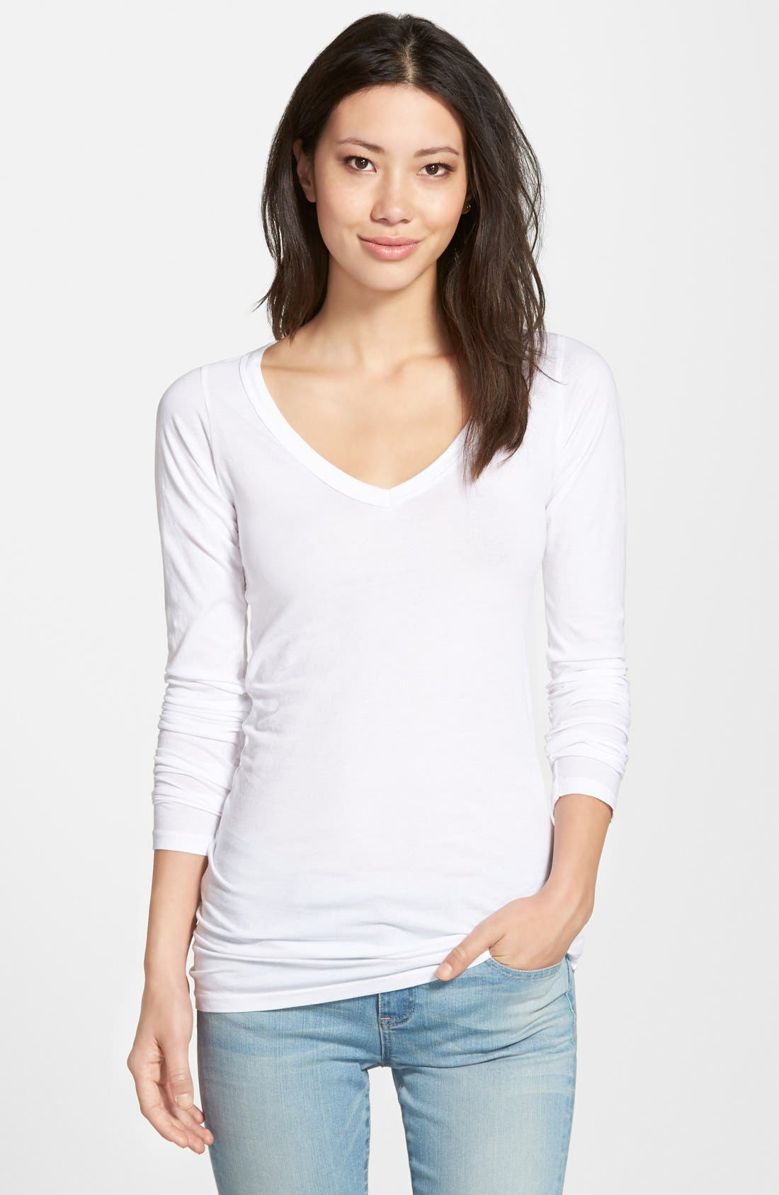 Long V-Neck Cotton Tee,                             Main thumbnail 5, color,