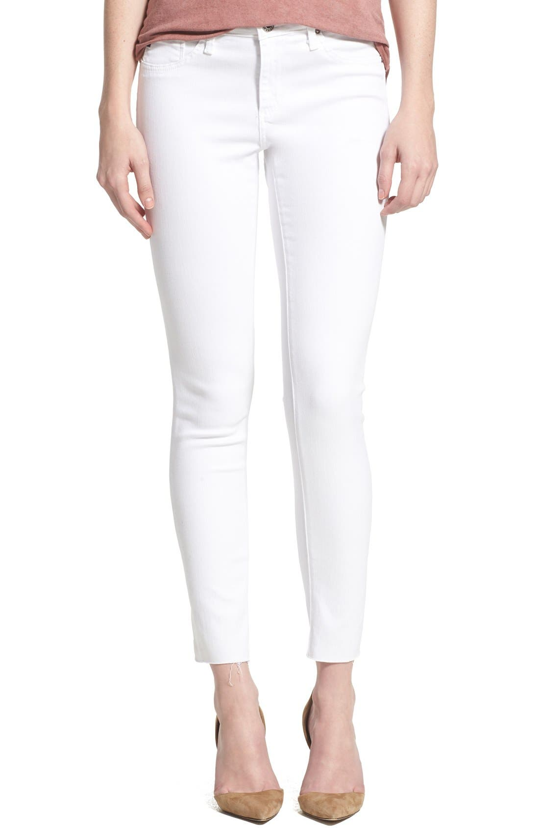 'The Legging' Cutoff Ankle Skinny Jeans,                             Main thumbnail 1, color,                             WHITE