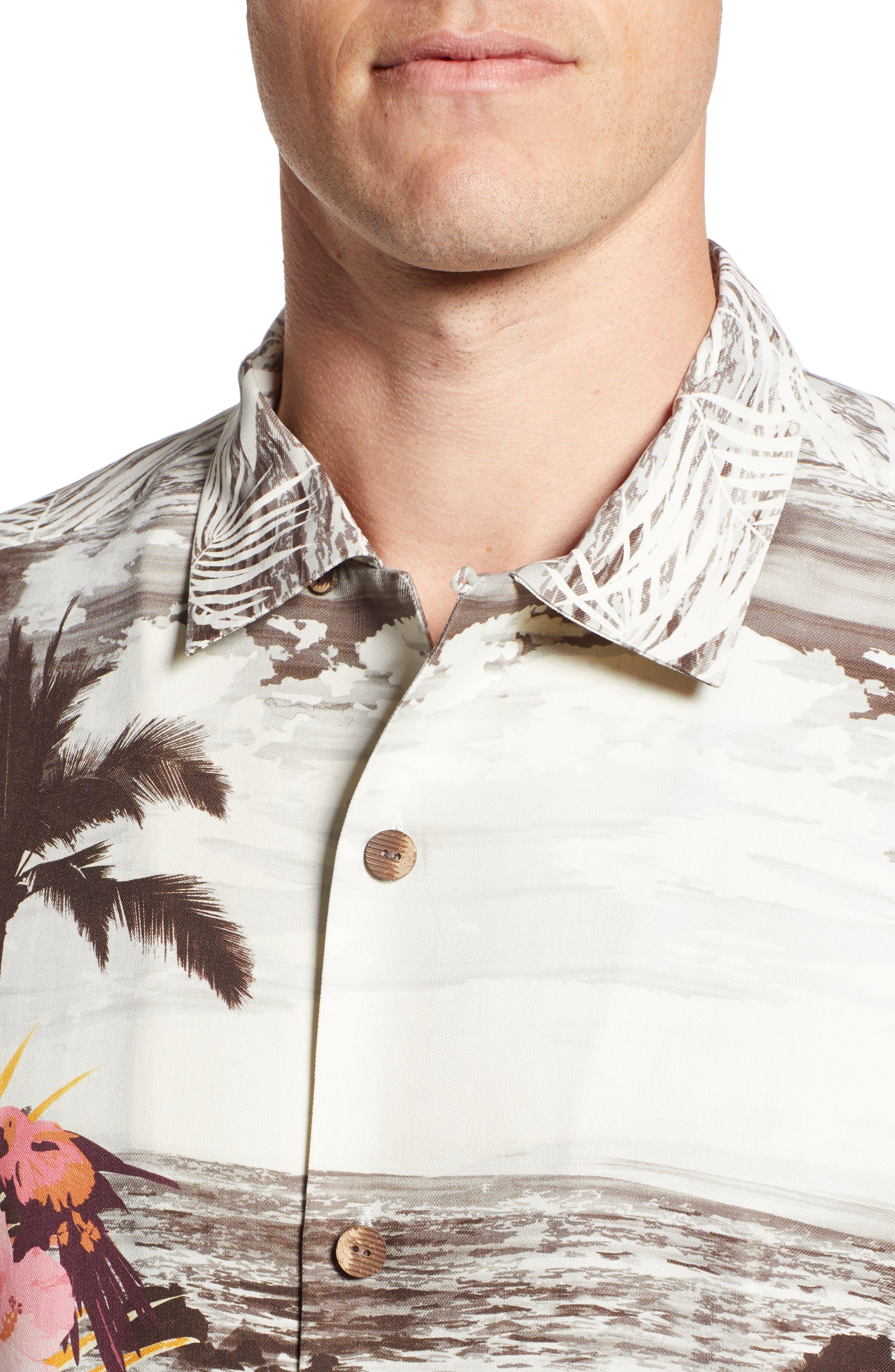 Sunset Serenade Silk Sport Shirt,                             Alternate thumbnail 4, color,                             SUNSET ORANGE