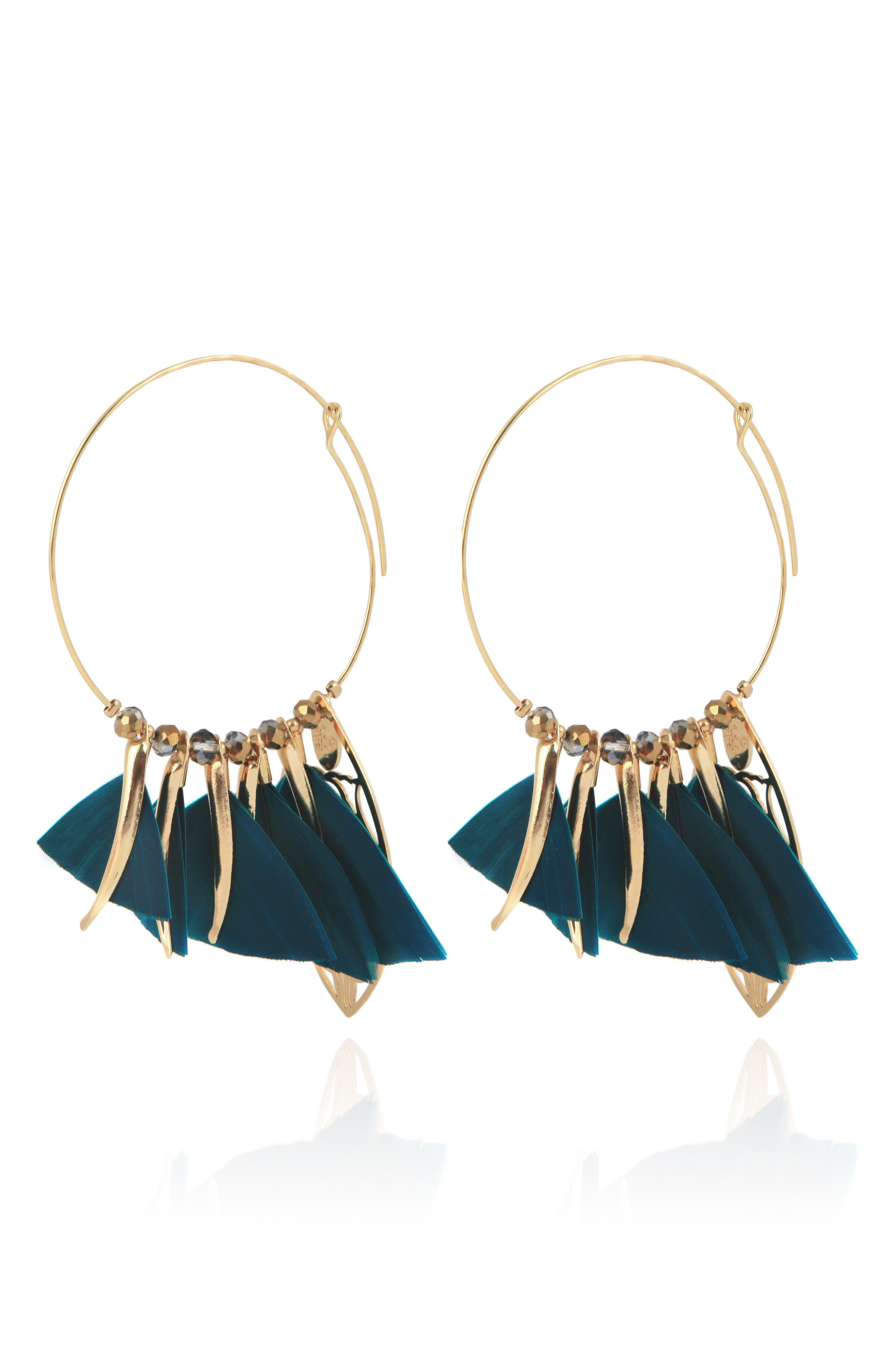 Marly Feather Drop Earrings,                         Main,                         color, BLUE