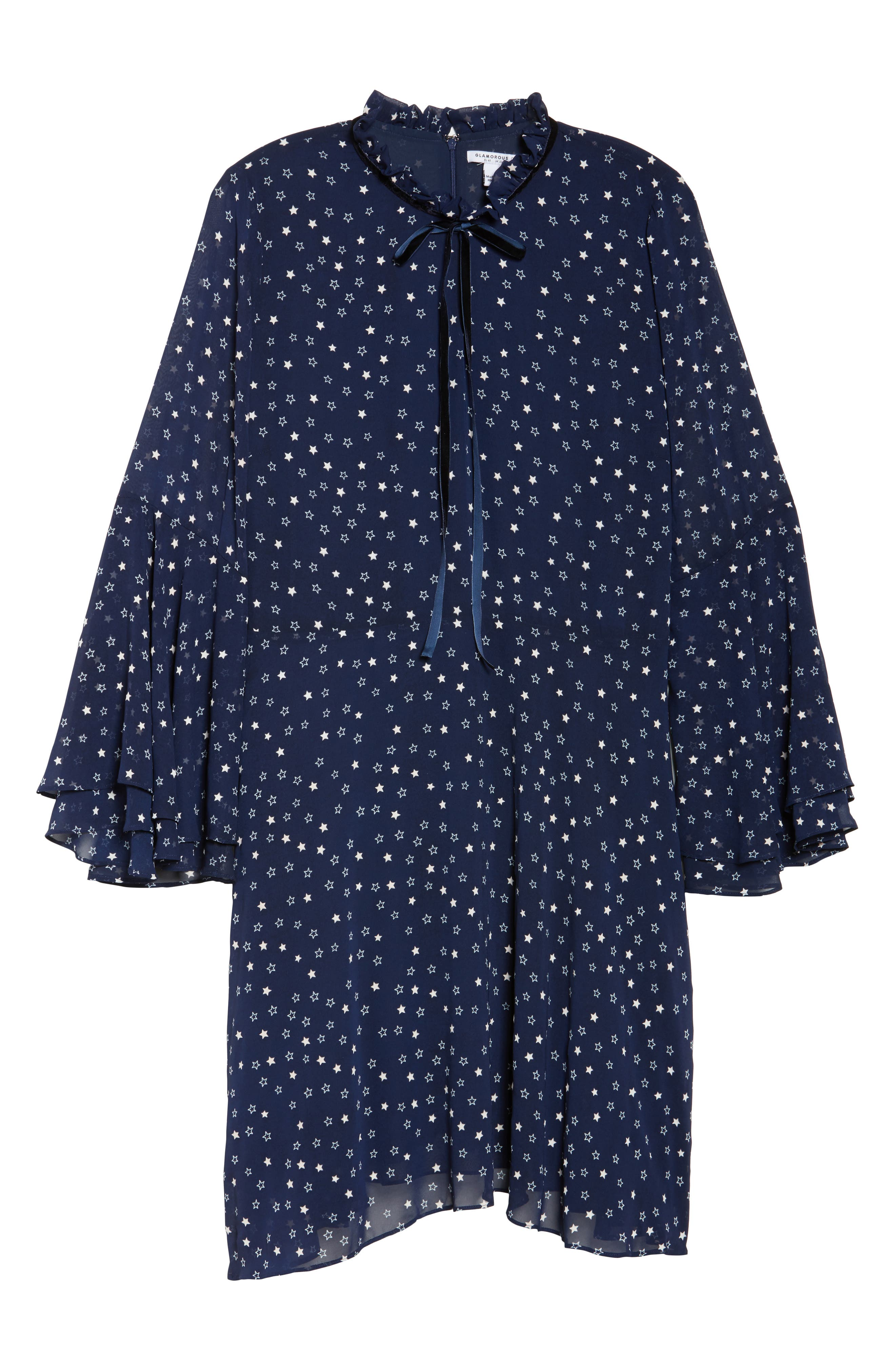 Bell Sleeve Floral Minidress,                             Alternate thumbnail 6, color,                             460