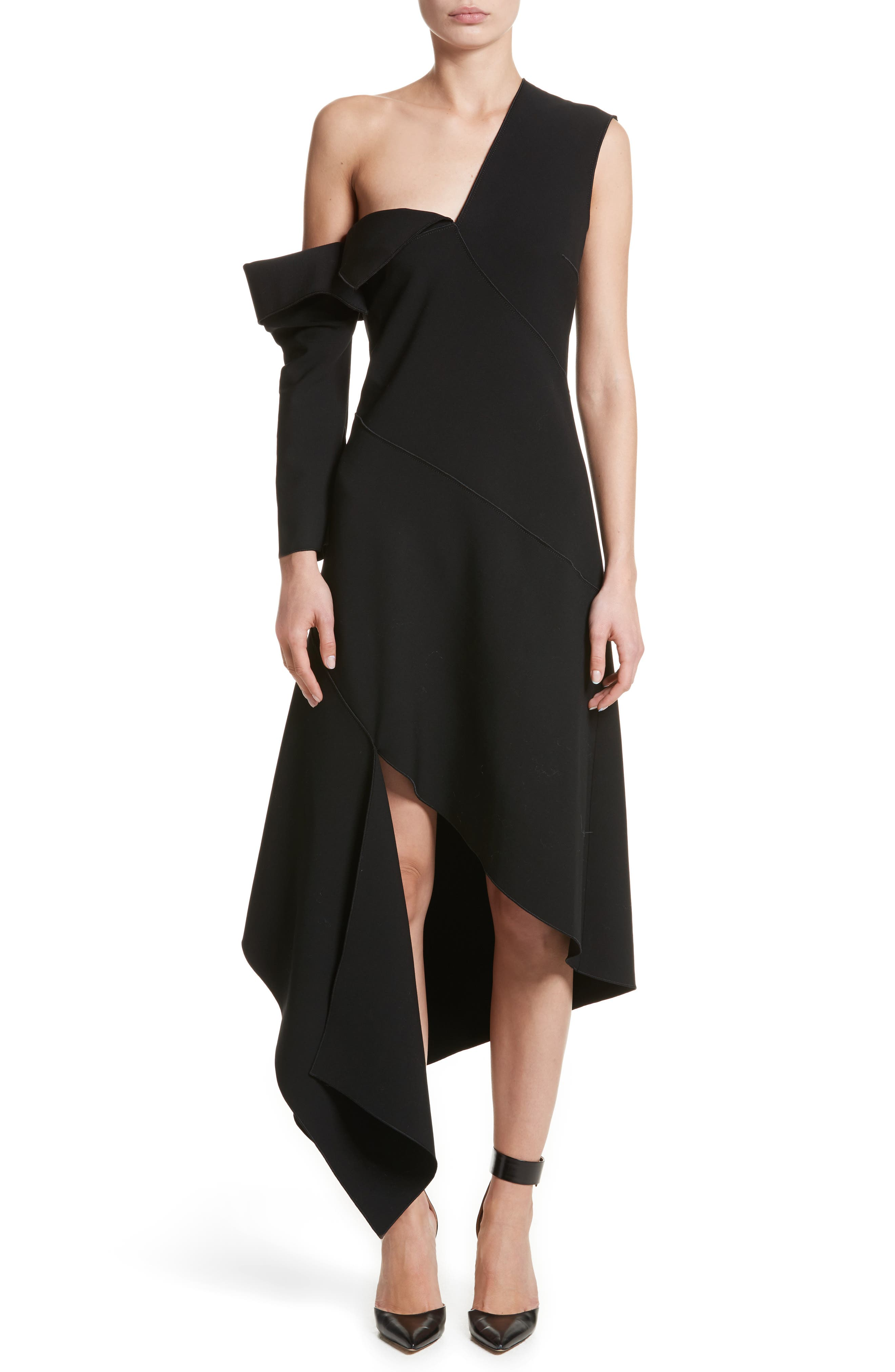 Double-Face Stretch Wool One-Shoulder Dress,                         Main,                         color, 001