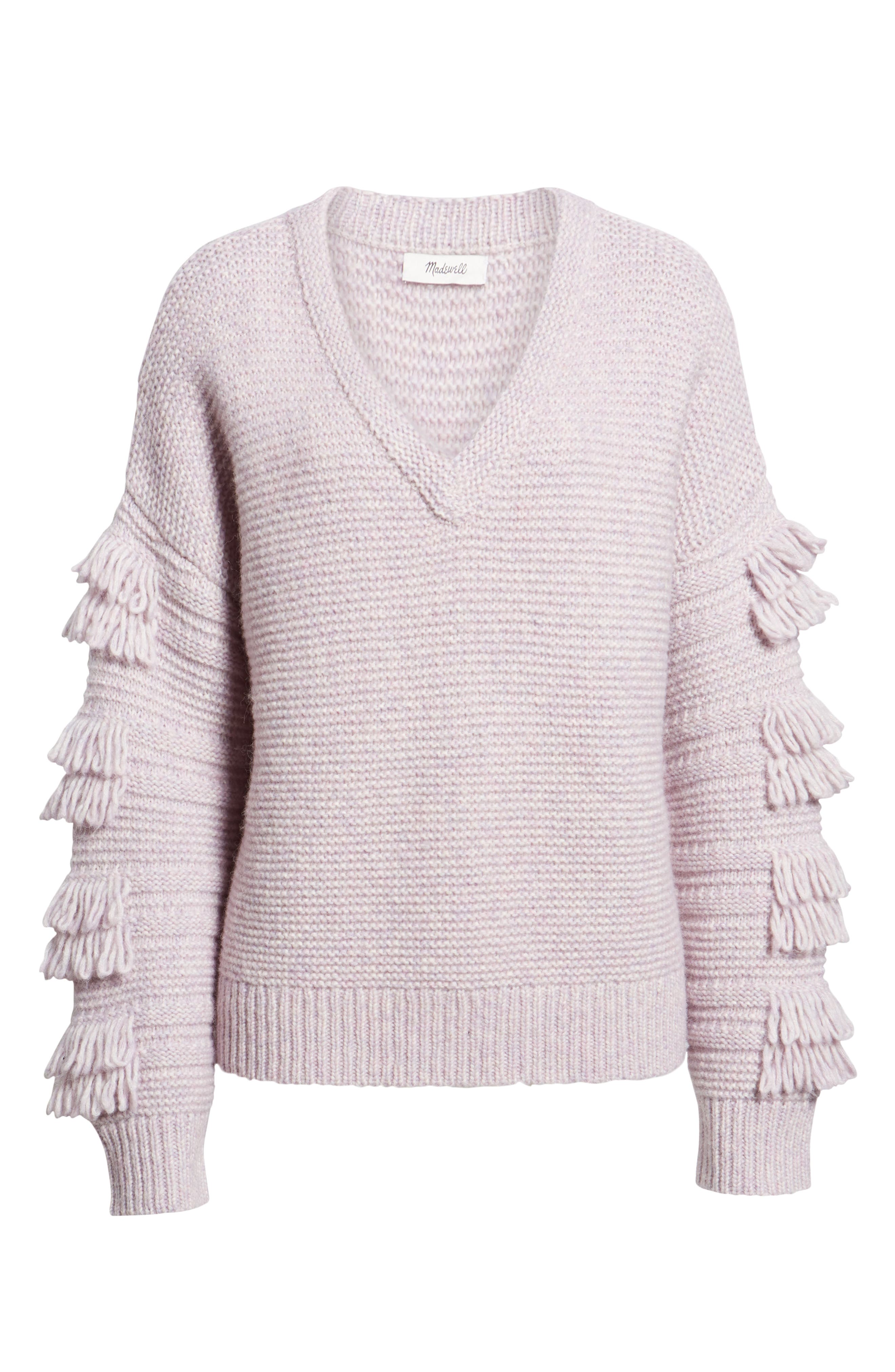 Fringe Sleeve Pullover Sweater,                             Alternate thumbnail 6, color,                             HEATHER PERIWINKLE