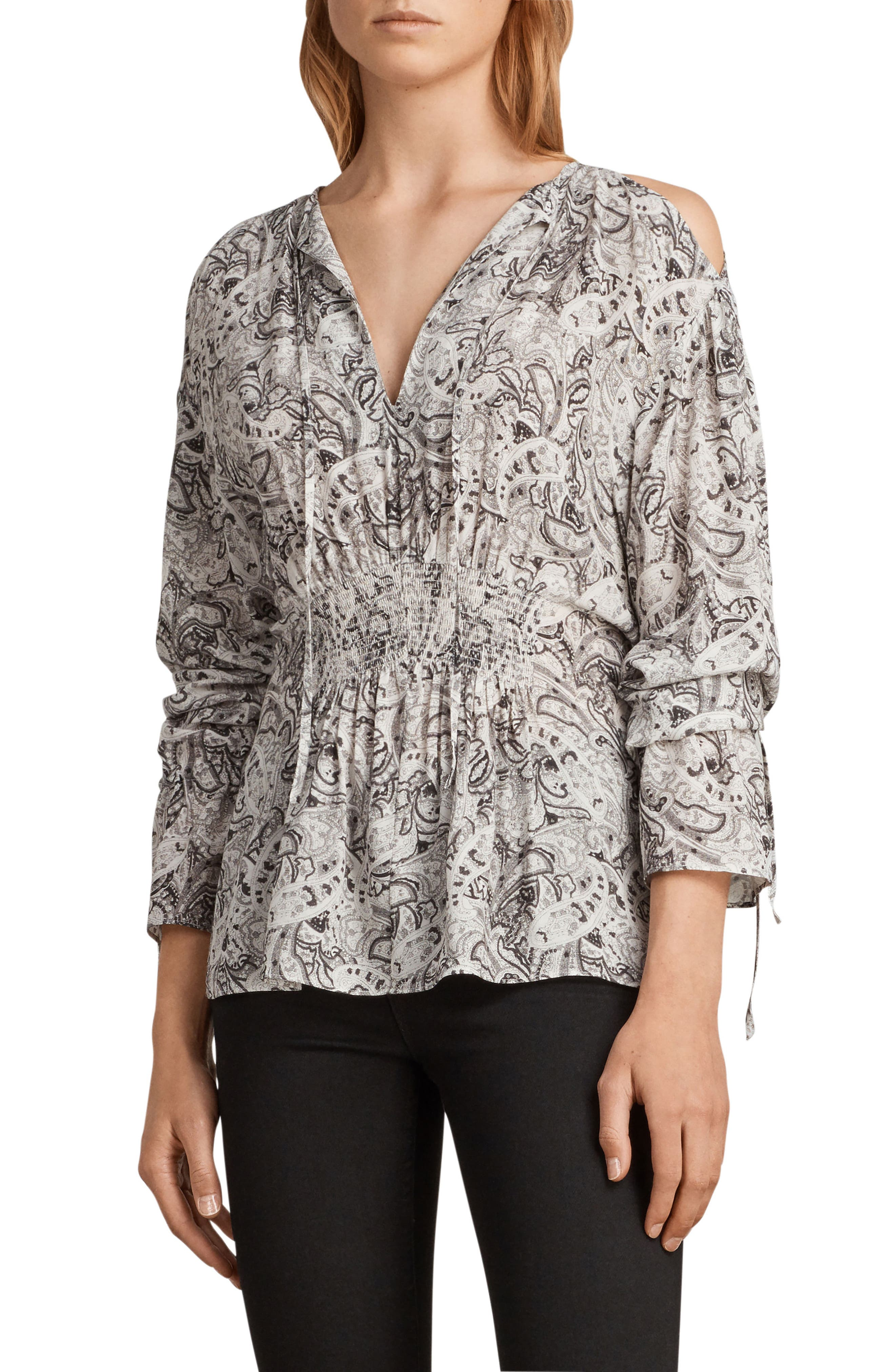 Lavete Paisley Cold Shoulder Top,                             Alternate thumbnail 4, color,