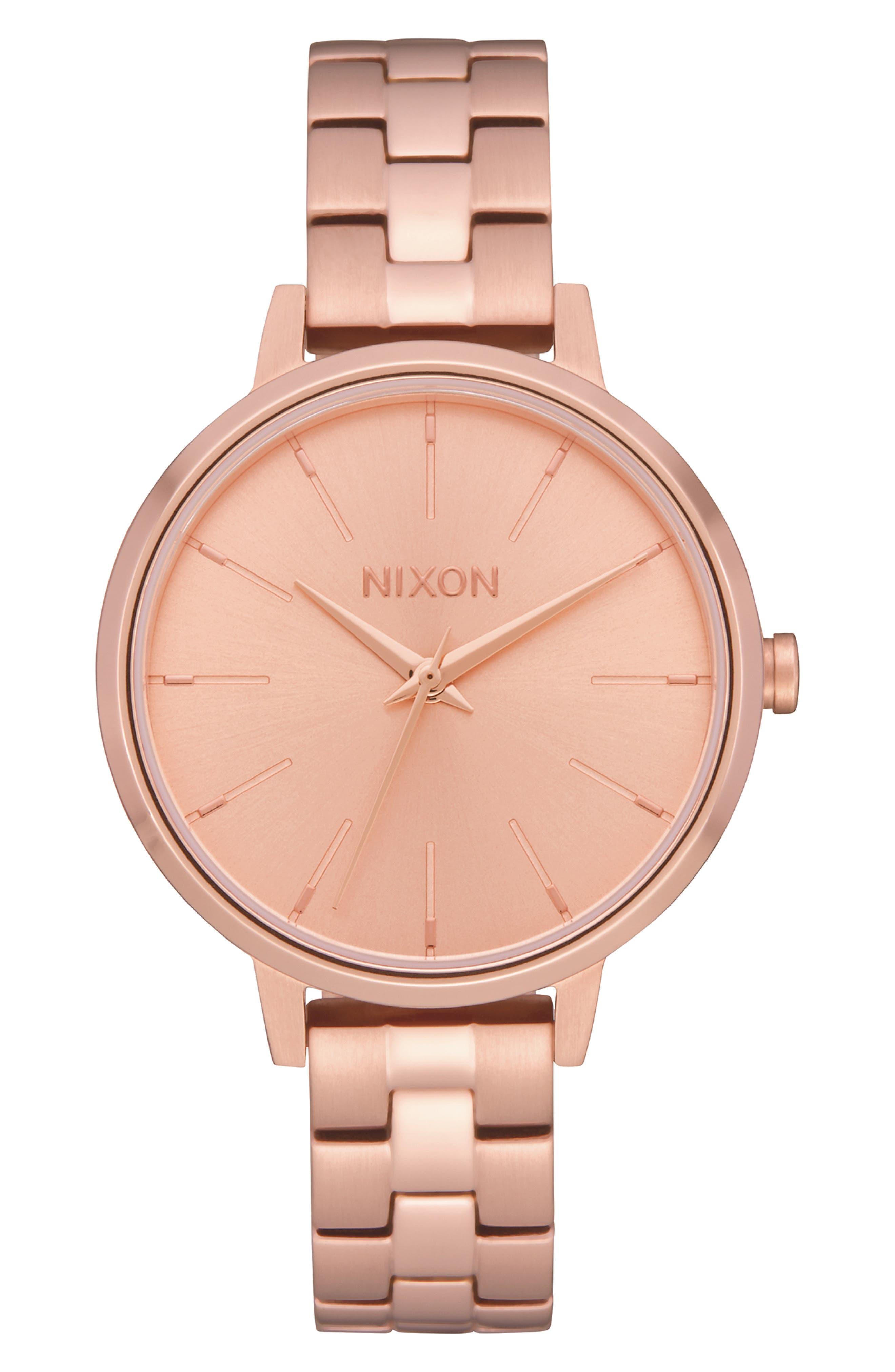 NIXON,                             Medium Kensington Bracelet Watch, 32mm,                             Main thumbnail 1, color,                             ROSE GOLD
