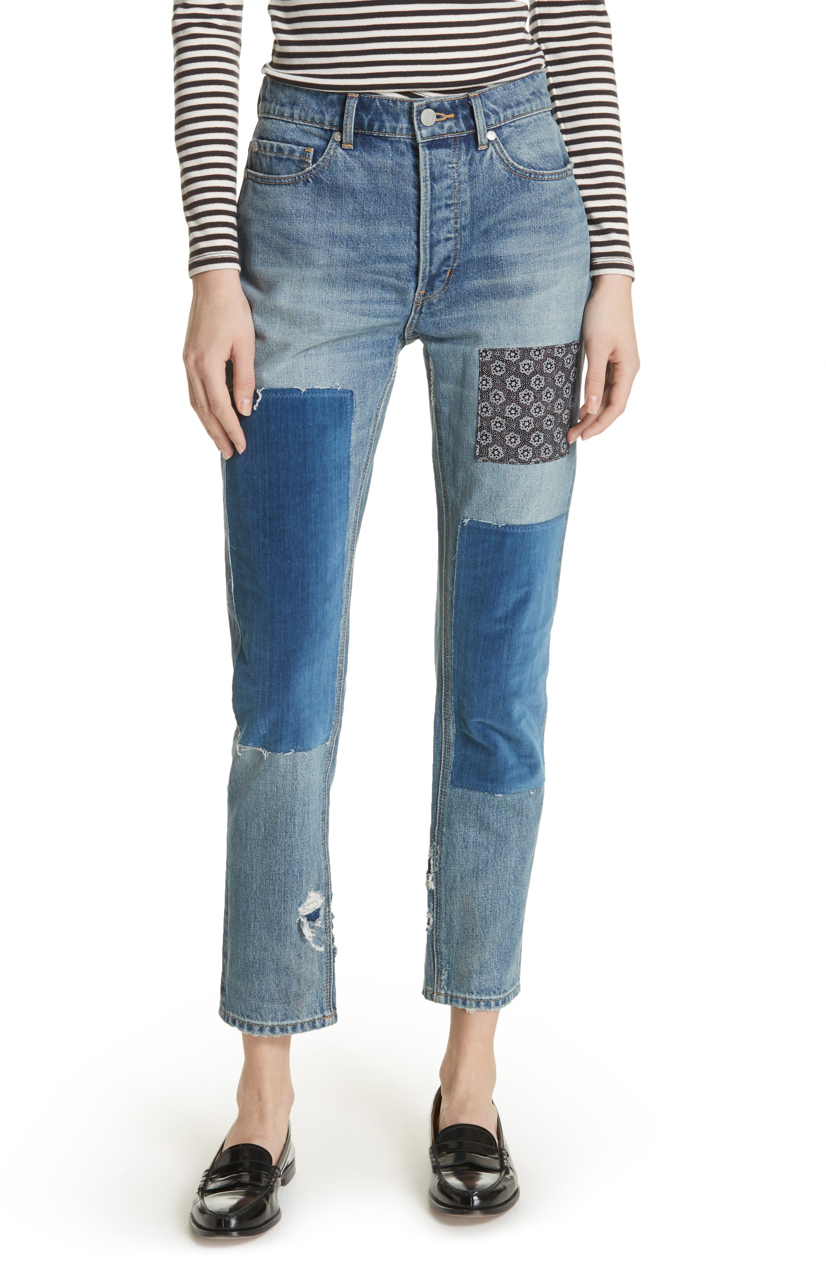Patched Velvet & Rigid Denim Jeans,                             Main thumbnail 1, color,