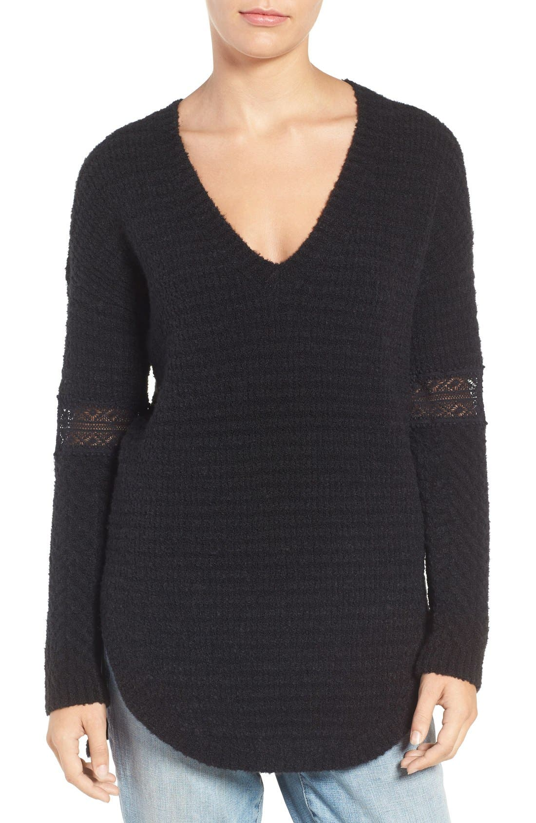 Lace Inset V-Neck Sweater,                             Main thumbnail 2, color,
