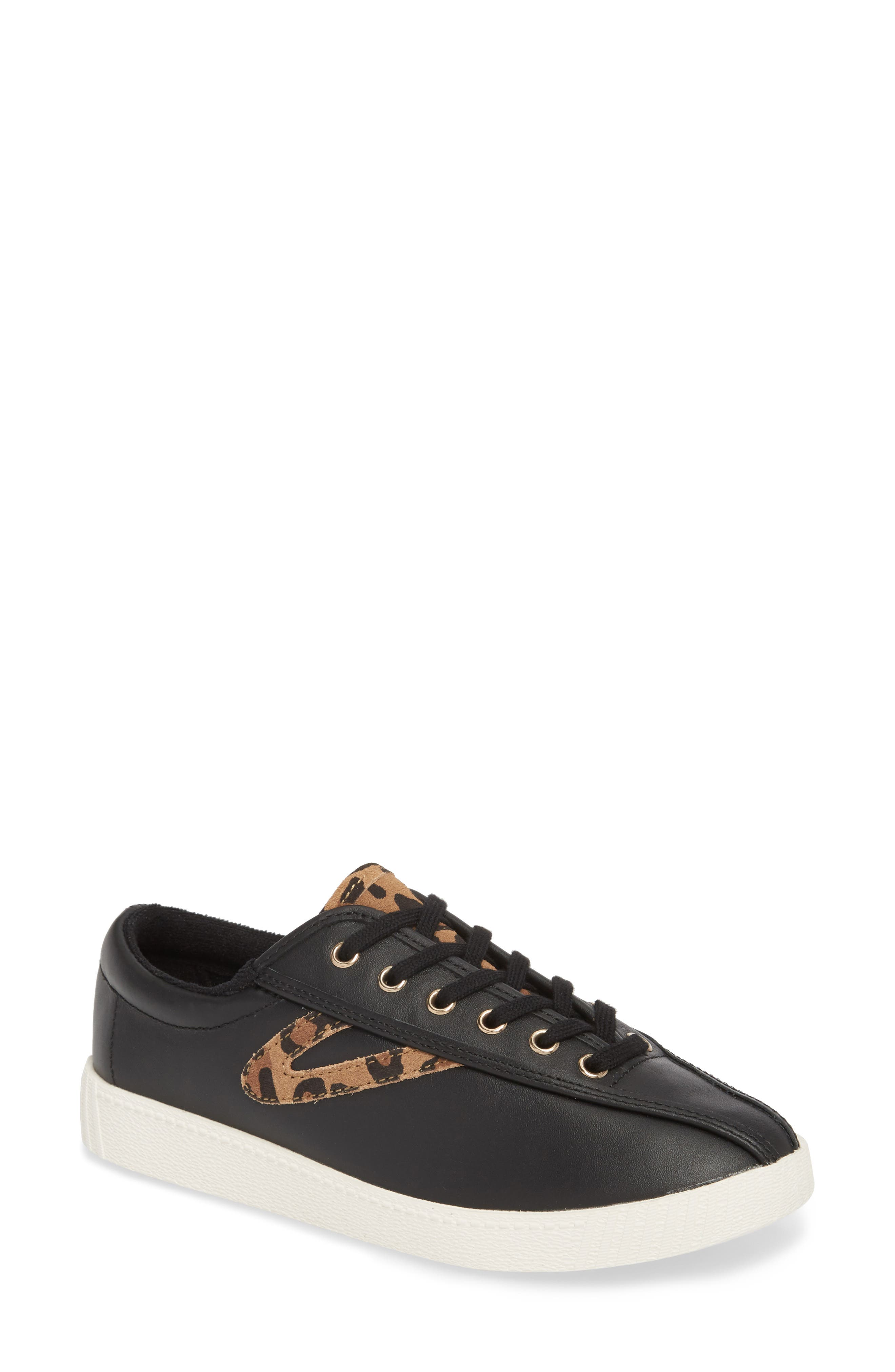 Patterned Sneaker,                         Main,                         color, BLACK/ TAN/ BLACK LEATHER