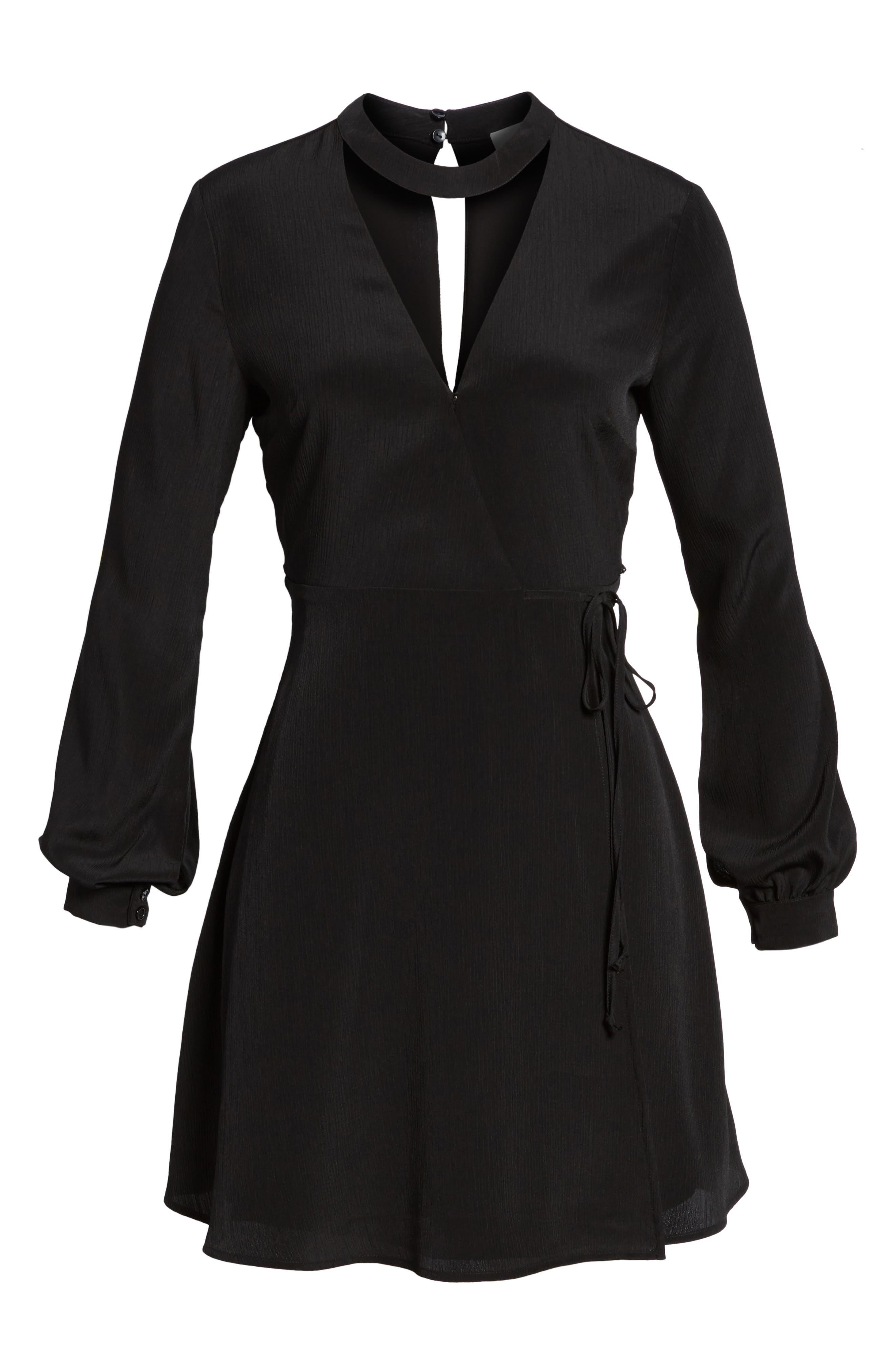 Choker Neck Wrap Dress,                             Alternate thumbnail 6, color,                             001