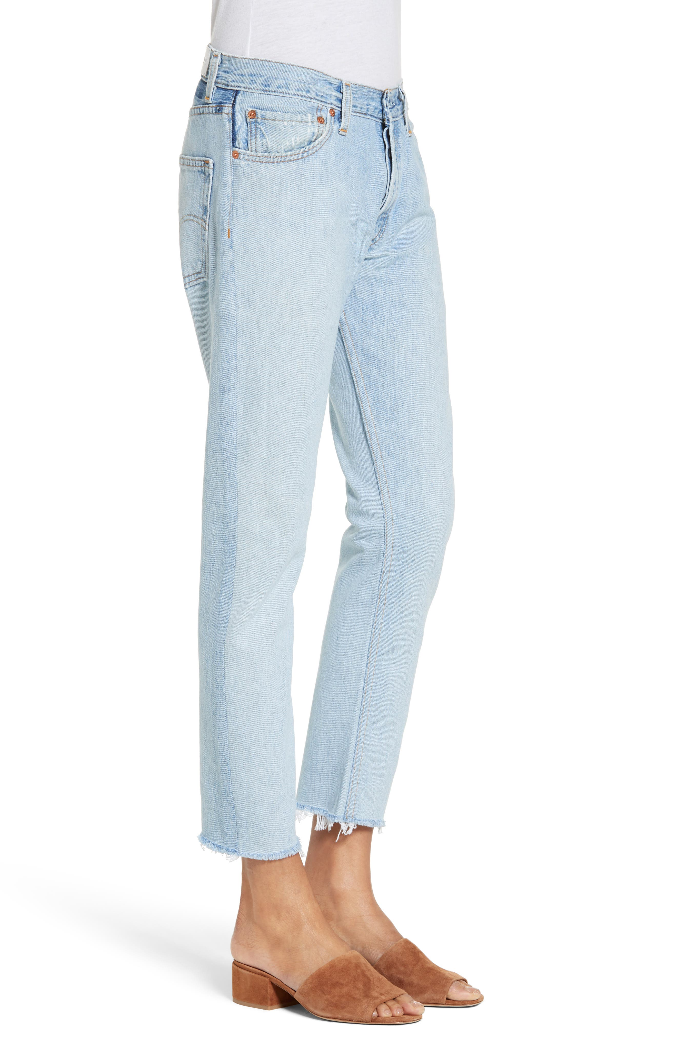 Reconstructed Crop Jeans,                             Alternate thumbnail 3, color,                             400