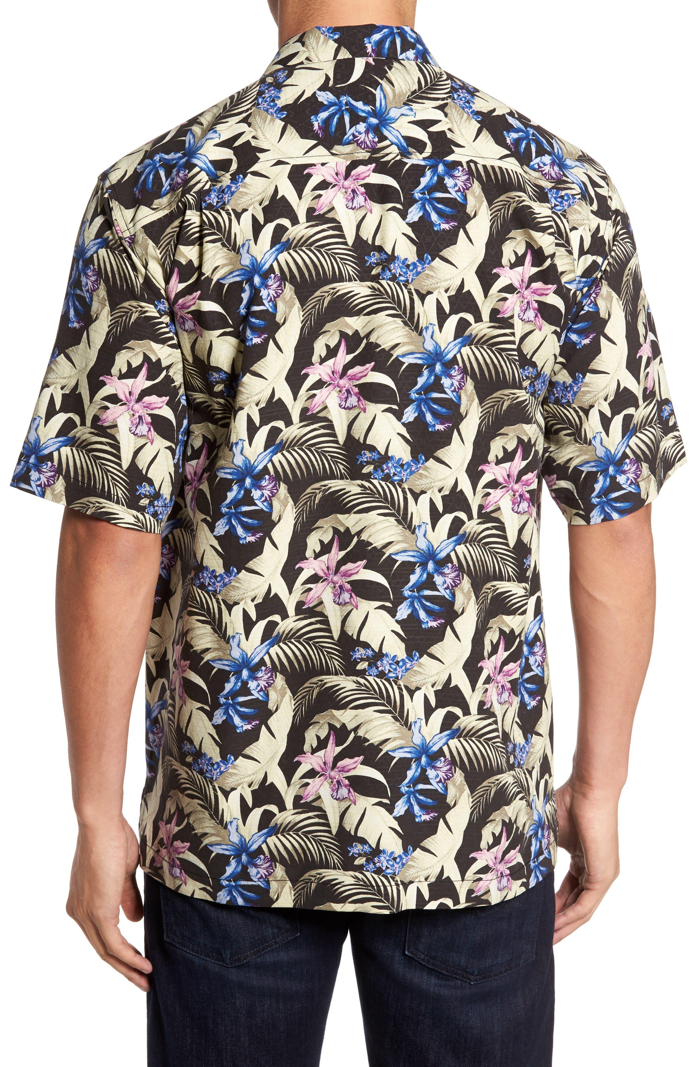 Menara Garden Standard Fit Silk Camp Shirt,                             Alternate thumbnail 2, color,                             001