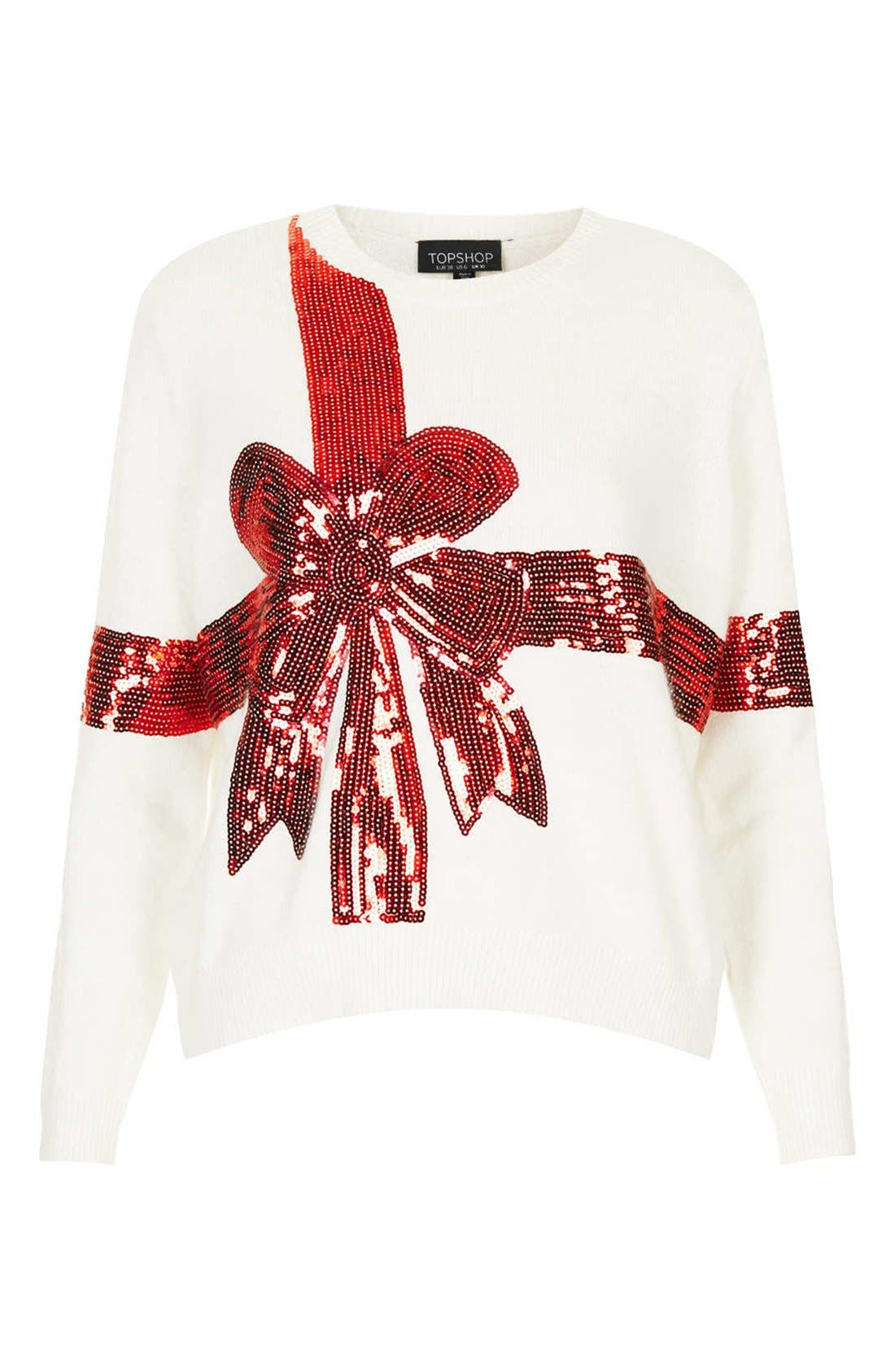 'Present' Sequin Ribbon Sweater,                             Alternate thumbnail 2, color,                             900